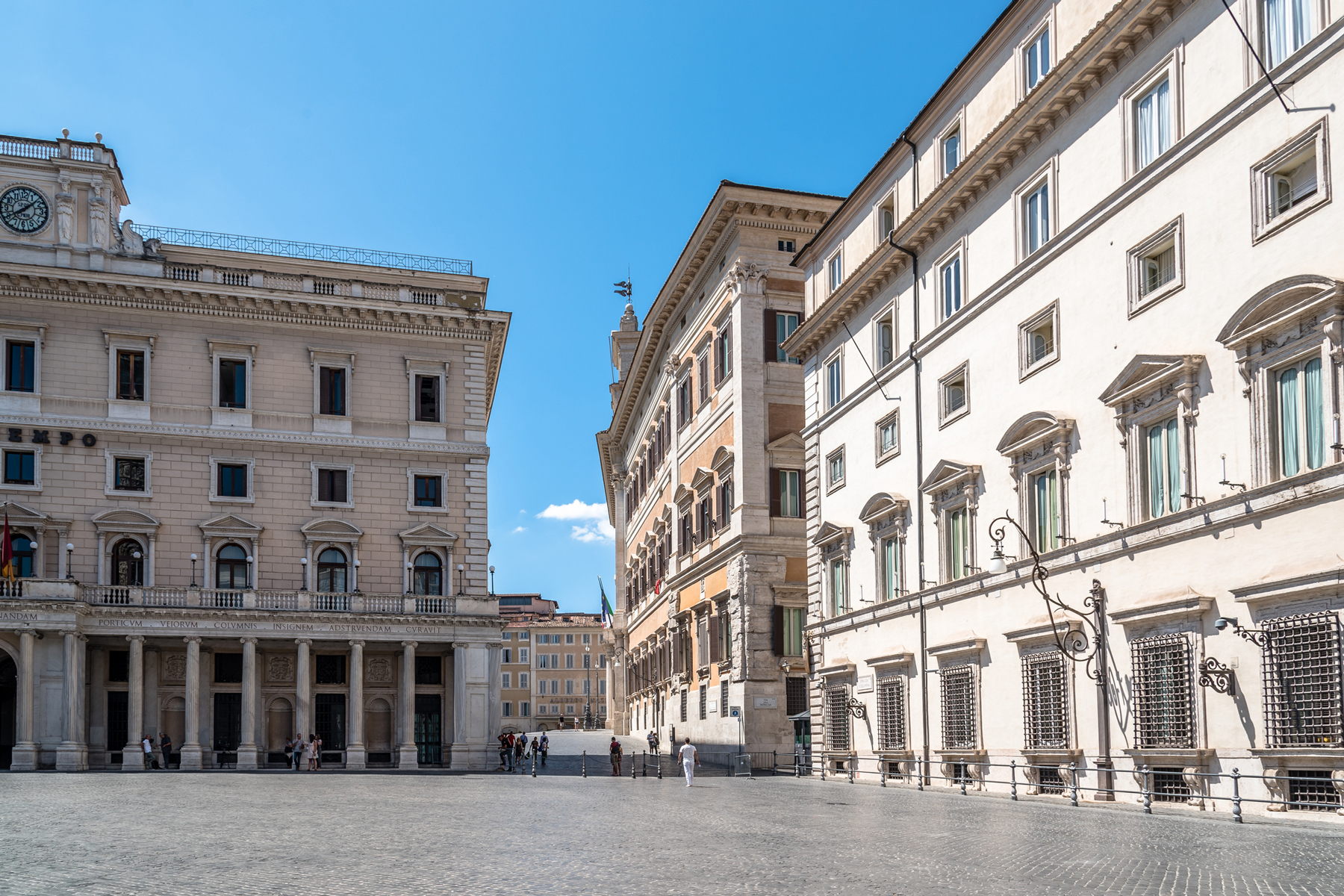 View of Piazza Colonna in historical city centre of Rome