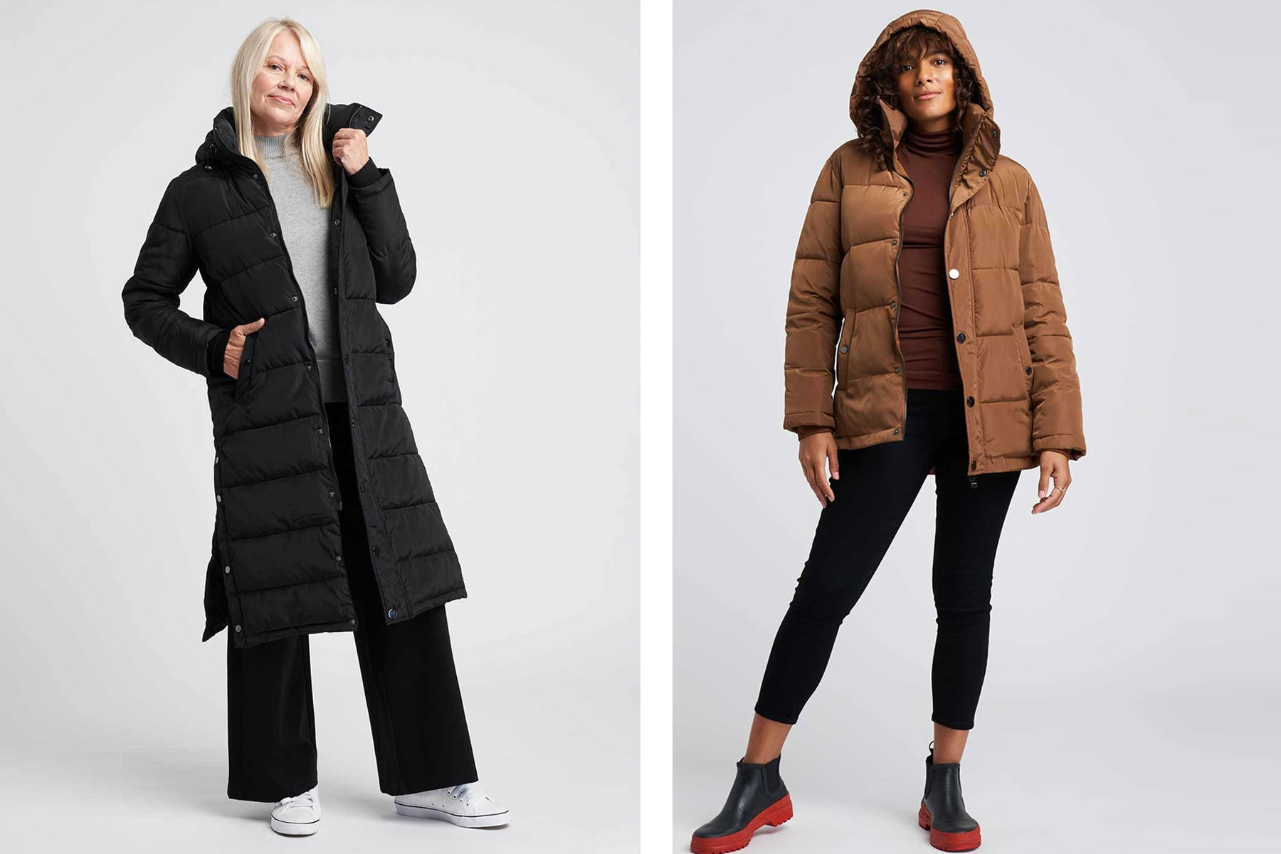 Women wearing black and brown parkas