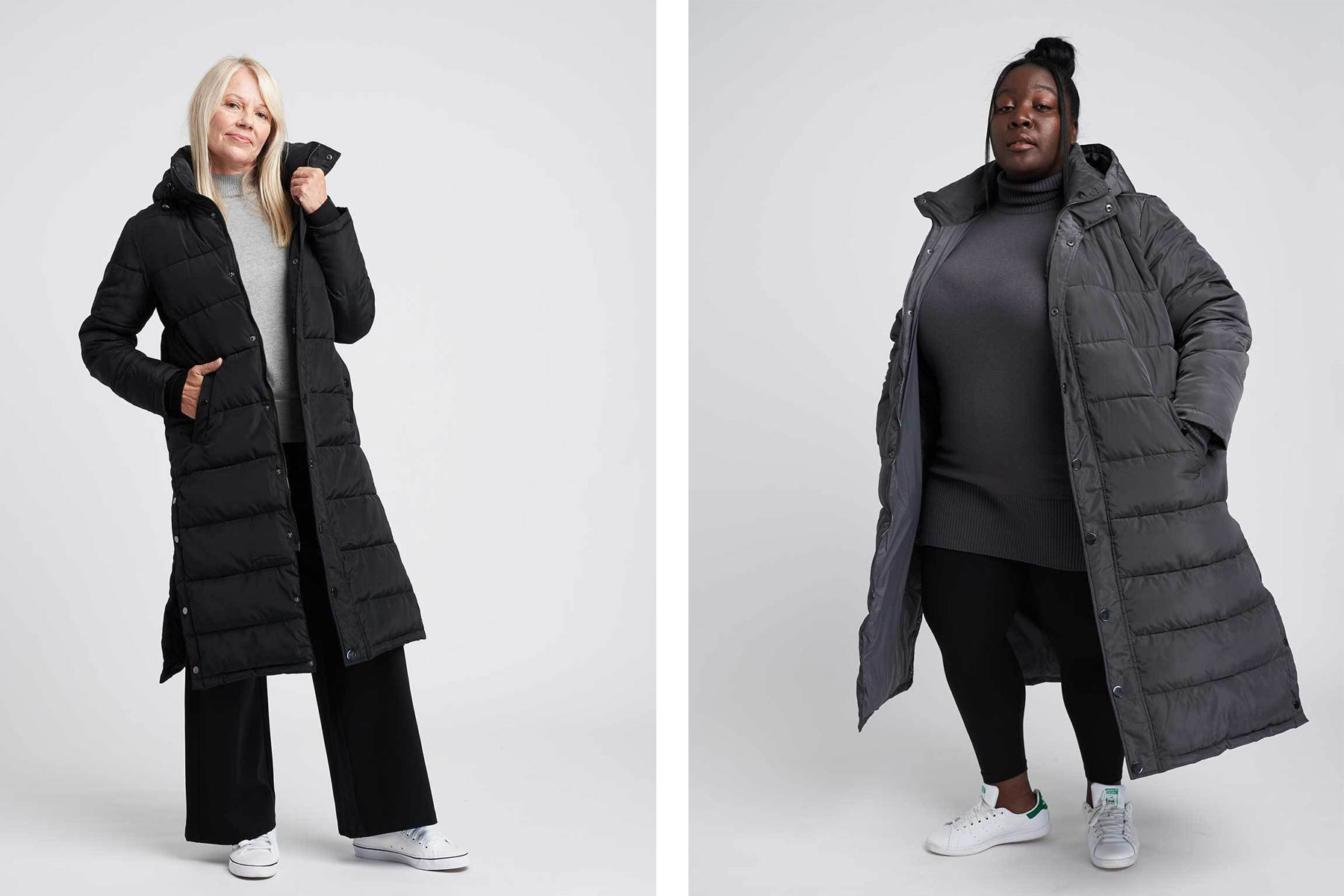 Women wearing black and grey long puffer coats