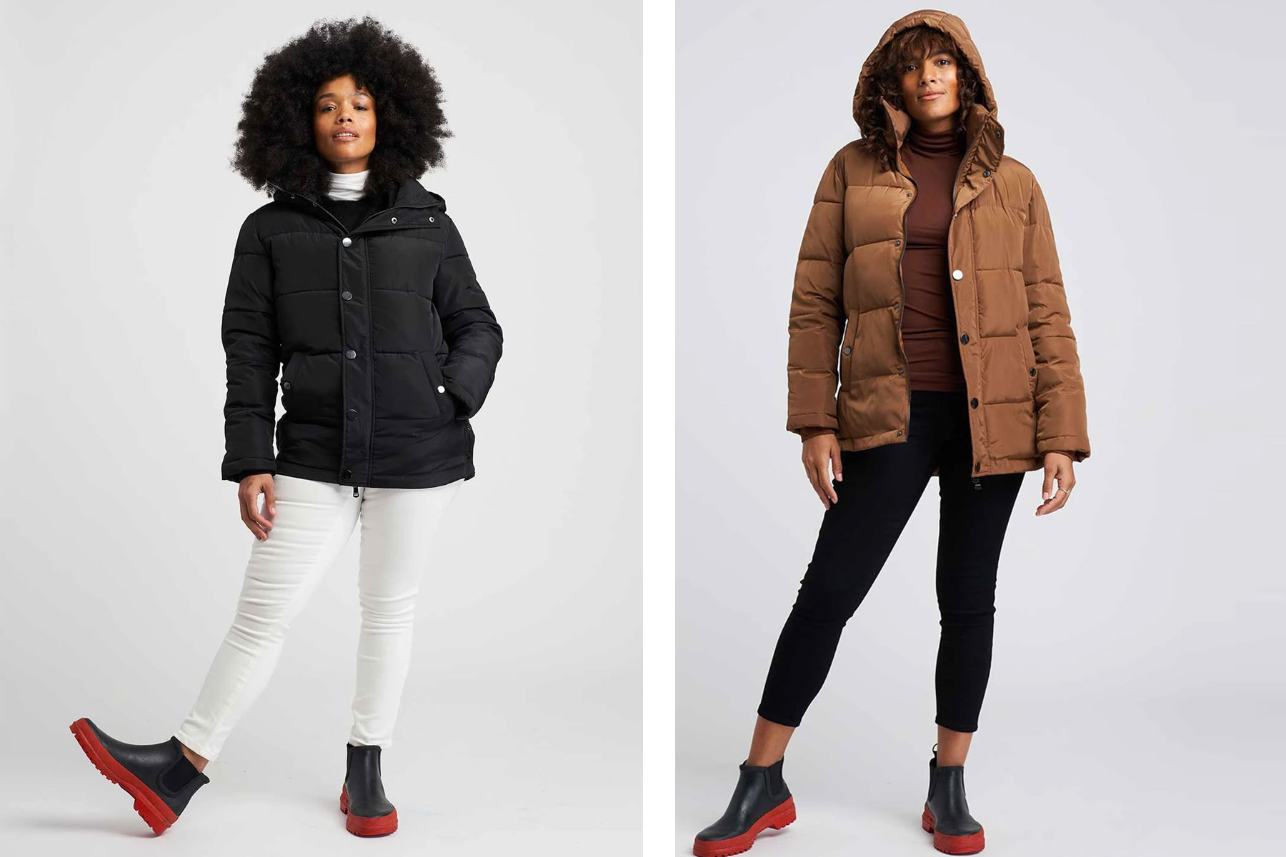 Women wearing black and brown puffer coats