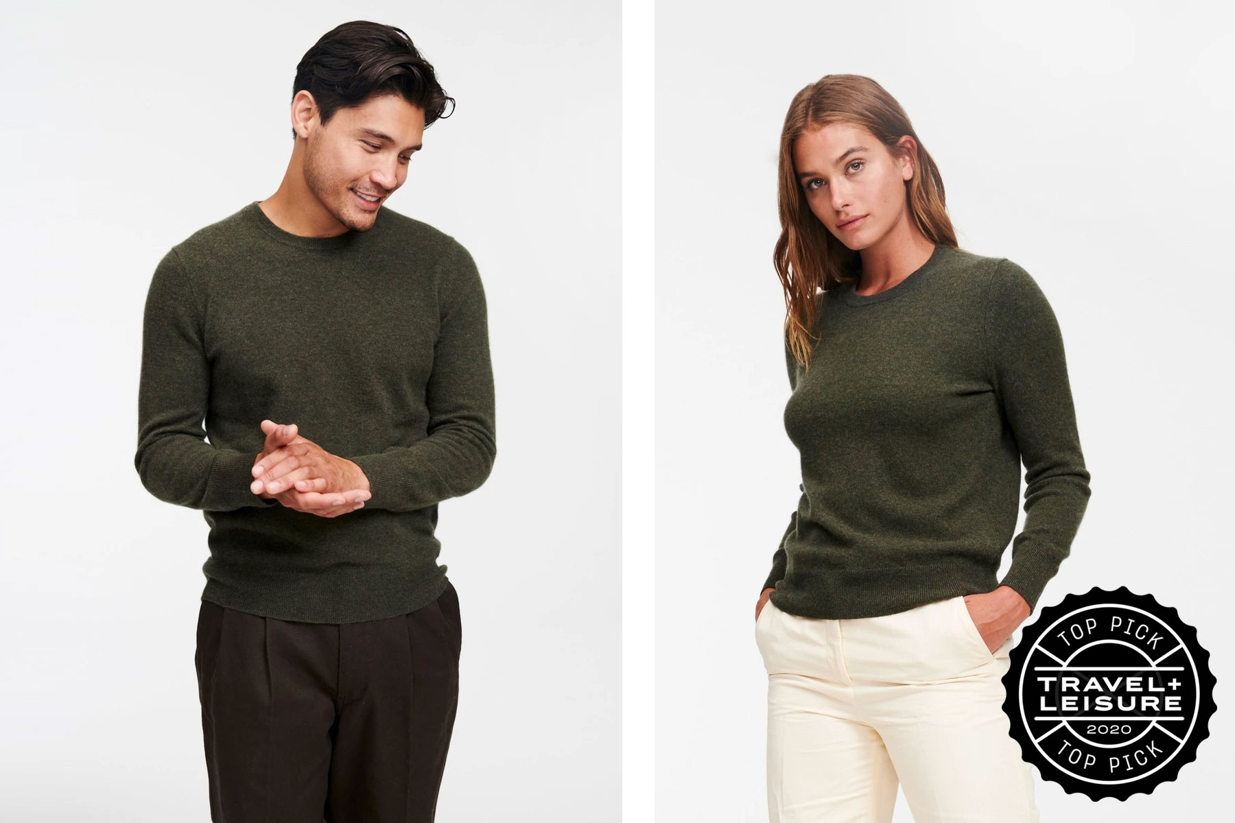 Man and woman wearing olive green cashmere sweaters