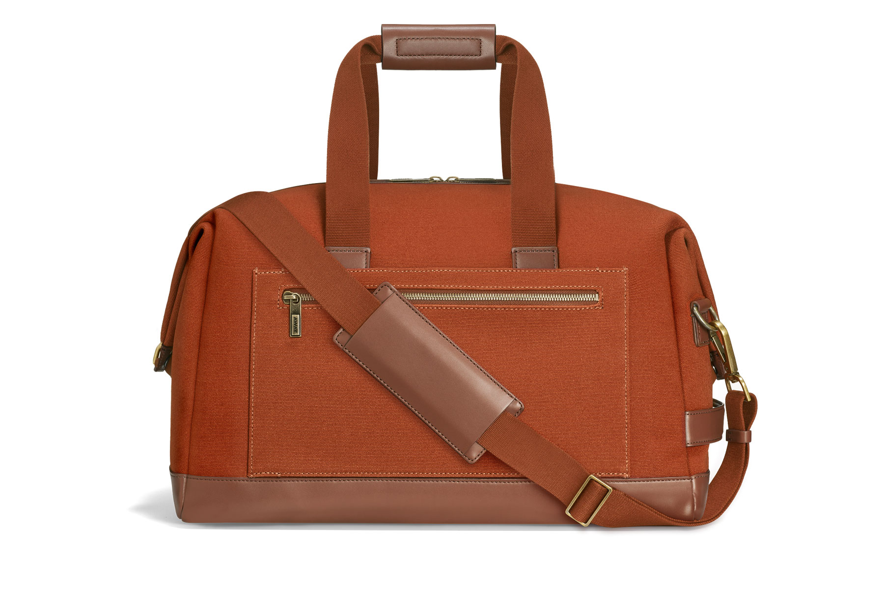 Brown/tan canvas duffel