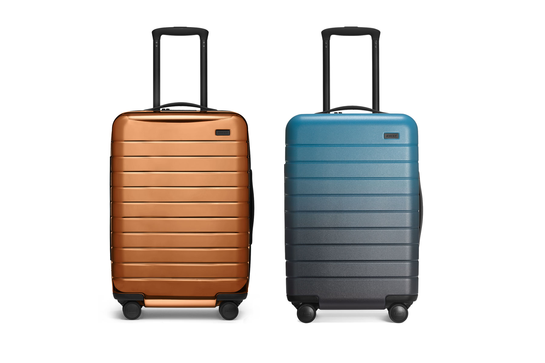 Copper and blue ombre hardside suitcases