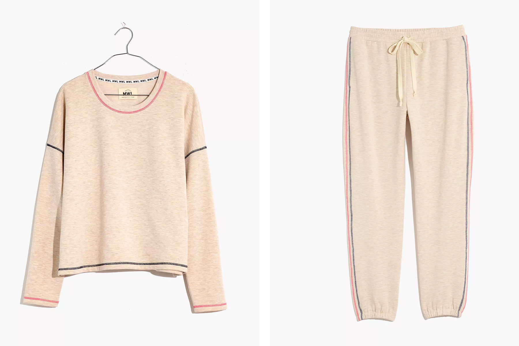 Oatmeal and pink-colored sweatsuit