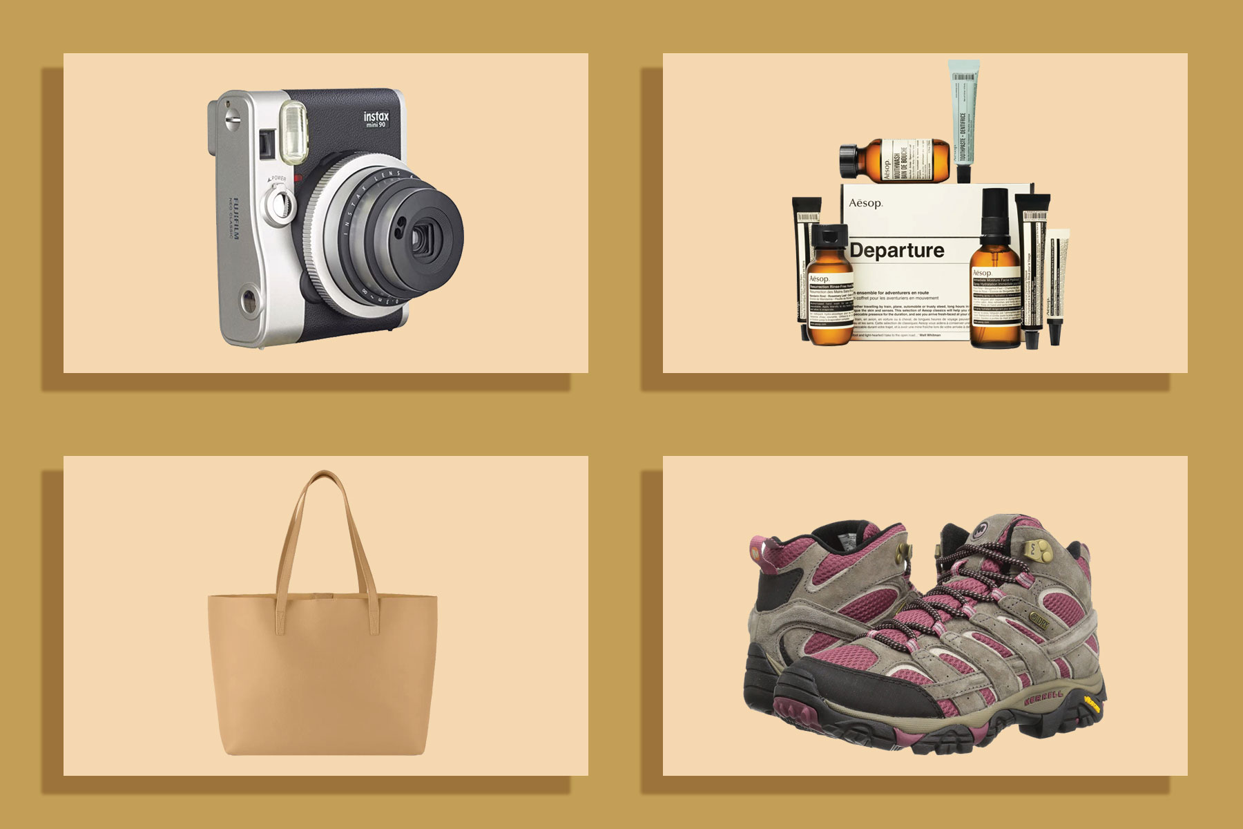 Camera, toiletries, tote, hiking boots