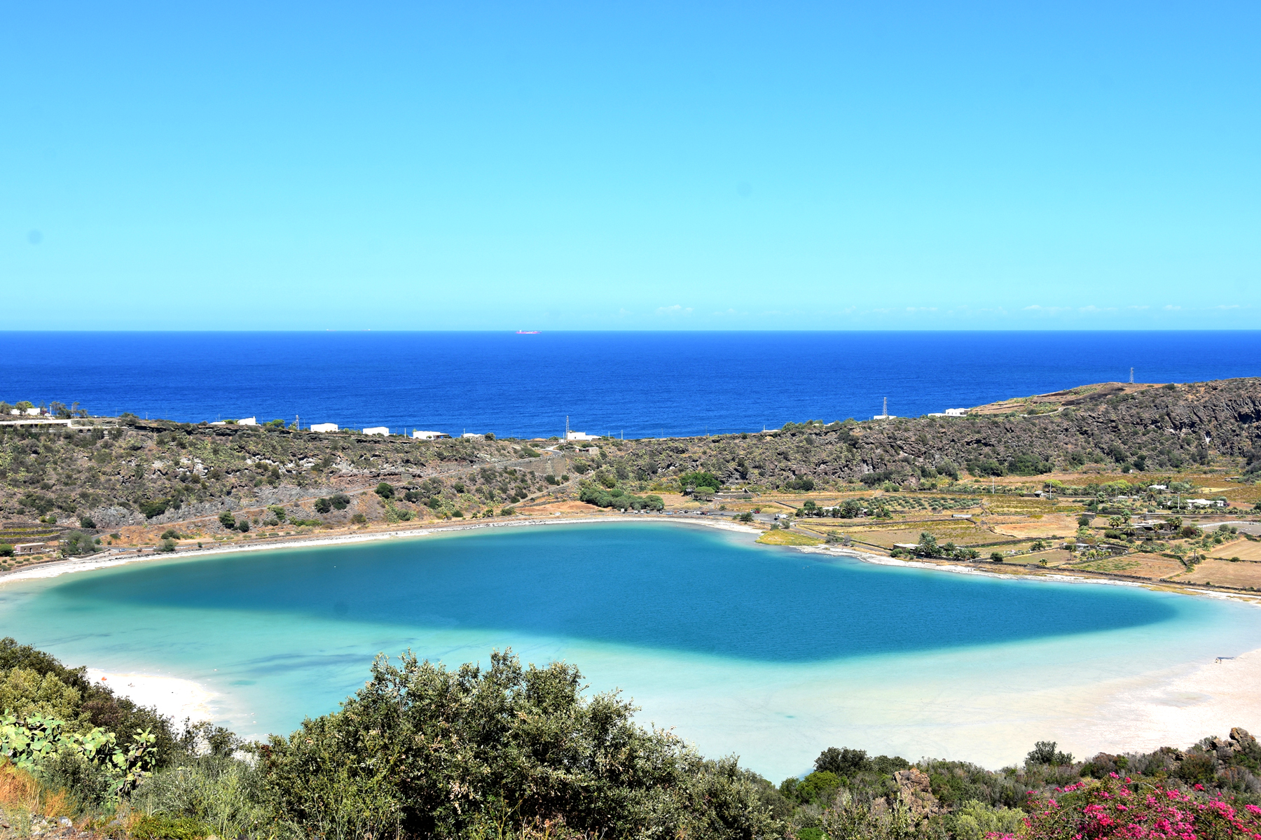 Blue waters and blue sky on Pantelleria