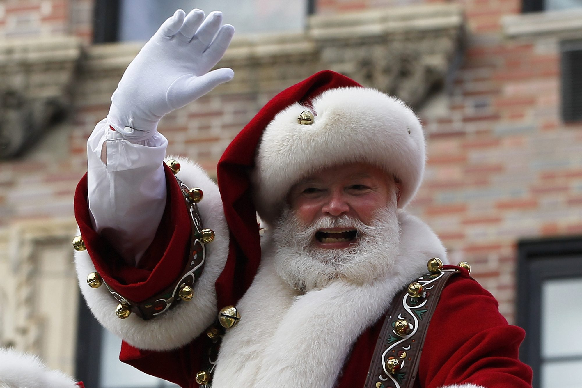 Santa Claus during the Thanksgiving Day Parade