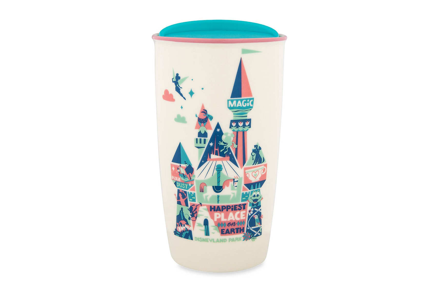 Disney Starbucks mug showing pink and turquoise illustrations with a vintage look