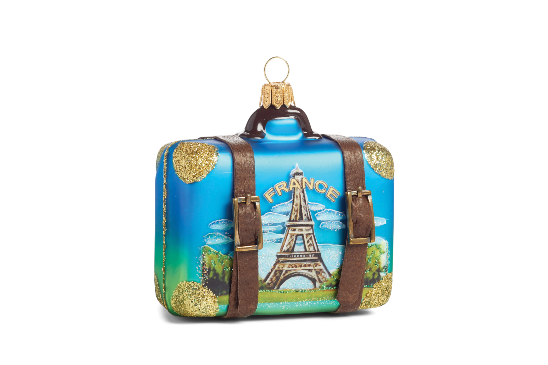 Holiday ornament of a travel suitcase with France motif