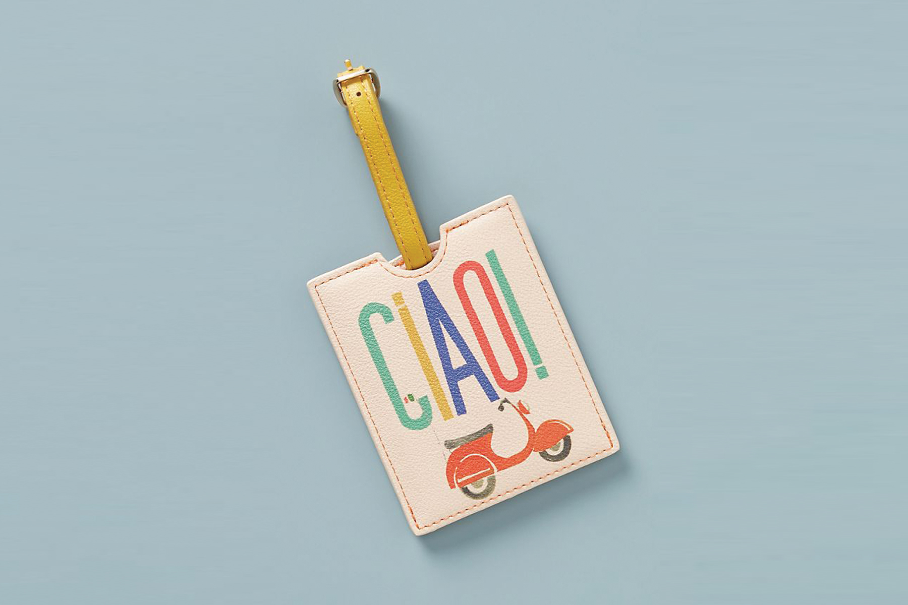 """Luggage tag with design saying """"Ciao!"""" with a red moped"""