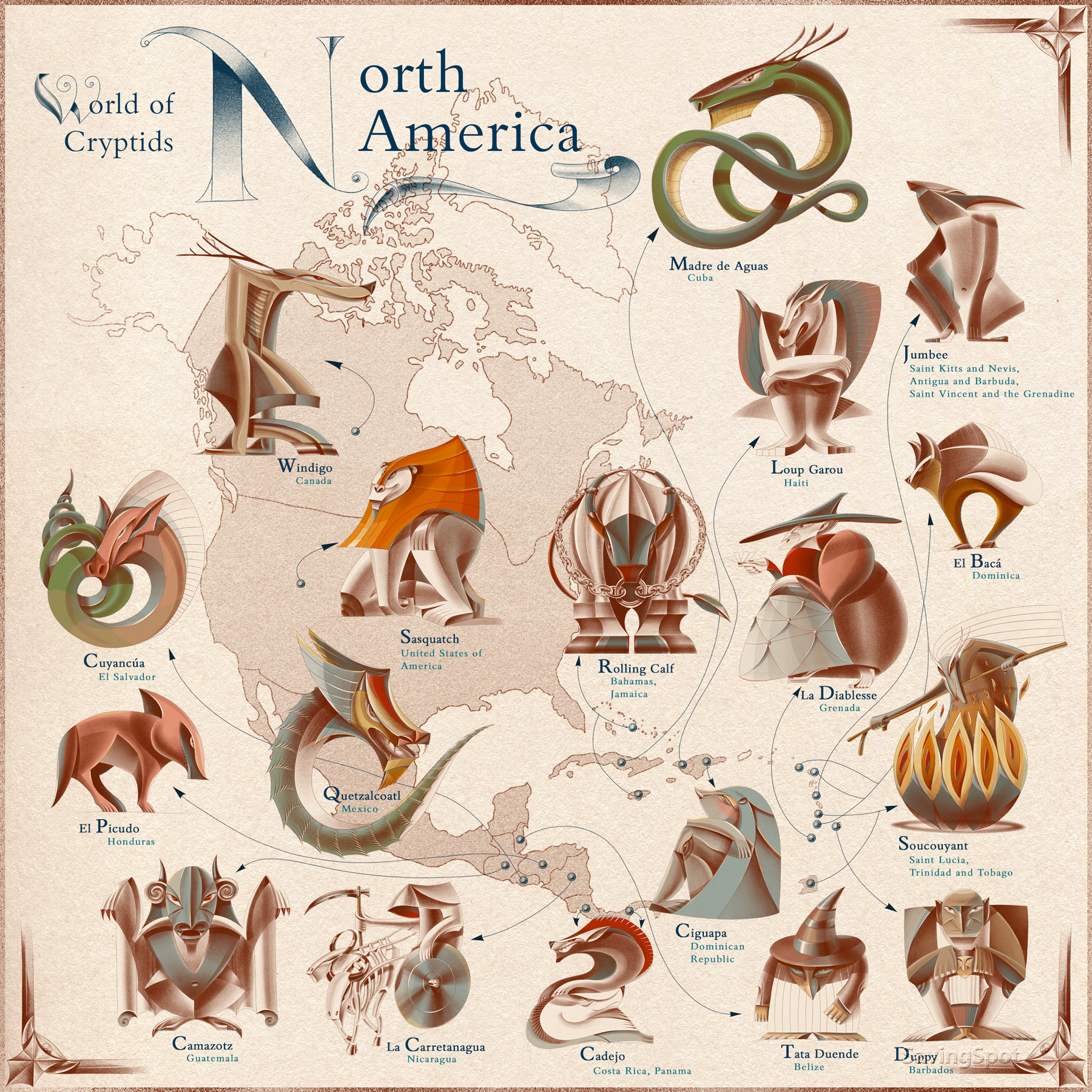 Illustrated map of mythical creatures in North America