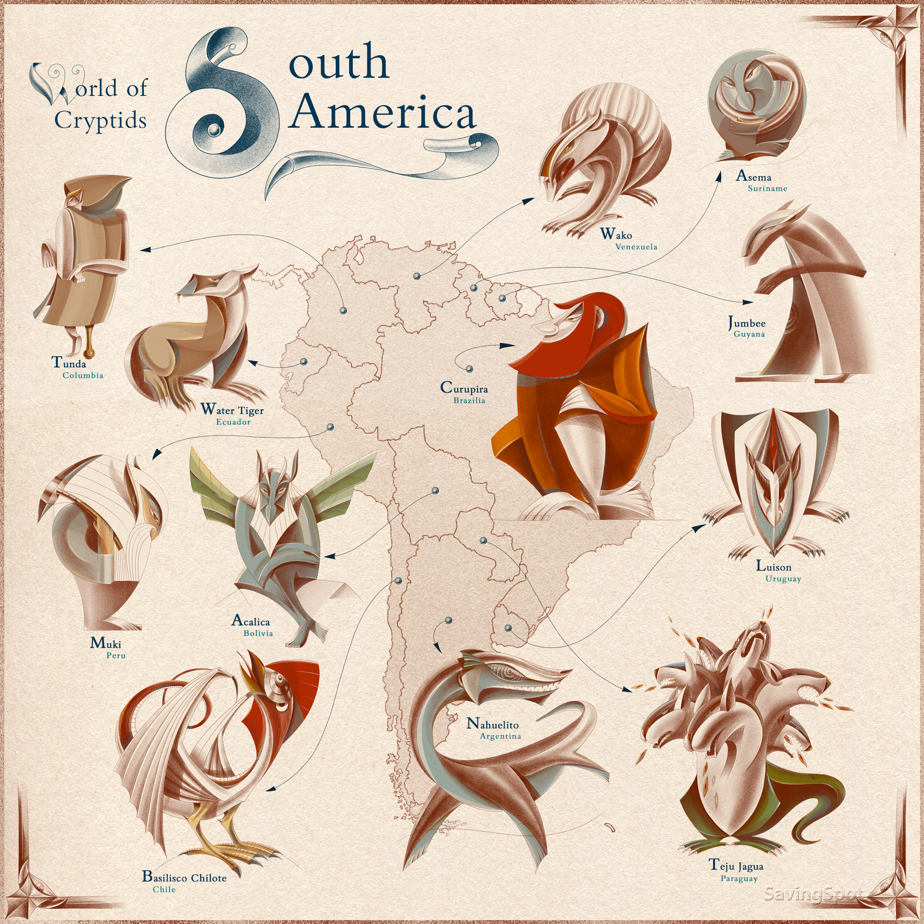 Illustrated map of mythical creatures in South America