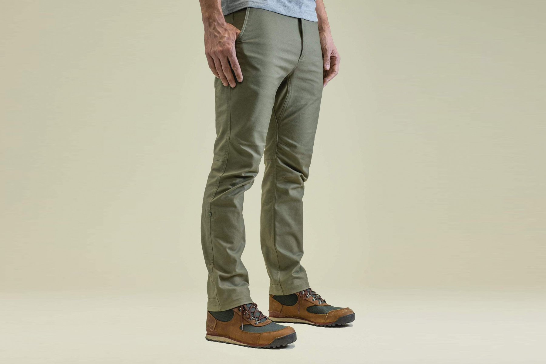 Olive Flex Canvas Pants being modeled by a man