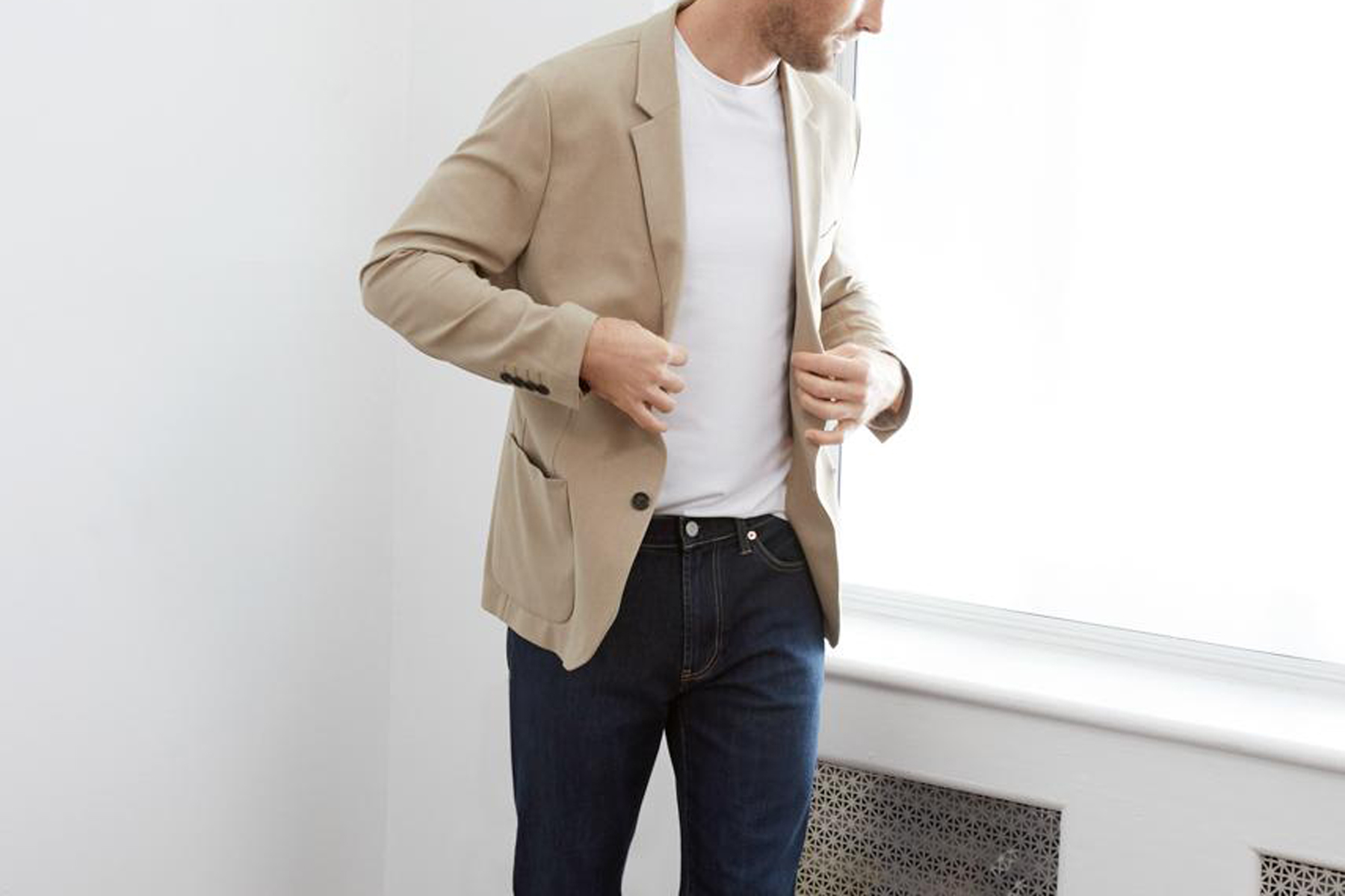 A relaxed fit blazer being modeled