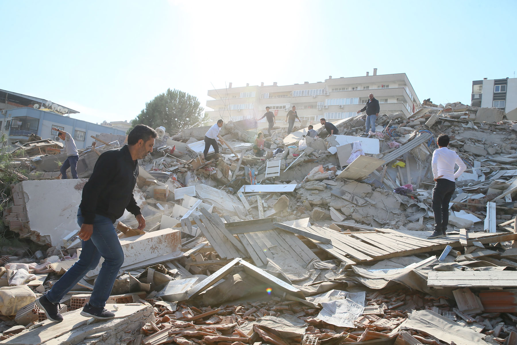 debris of a building in Bayrakli district of Izmir
