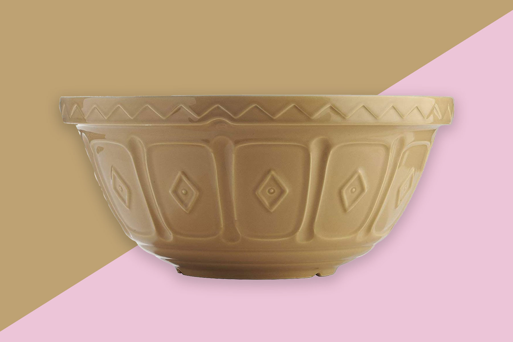 Tan ceramic mixing bowl