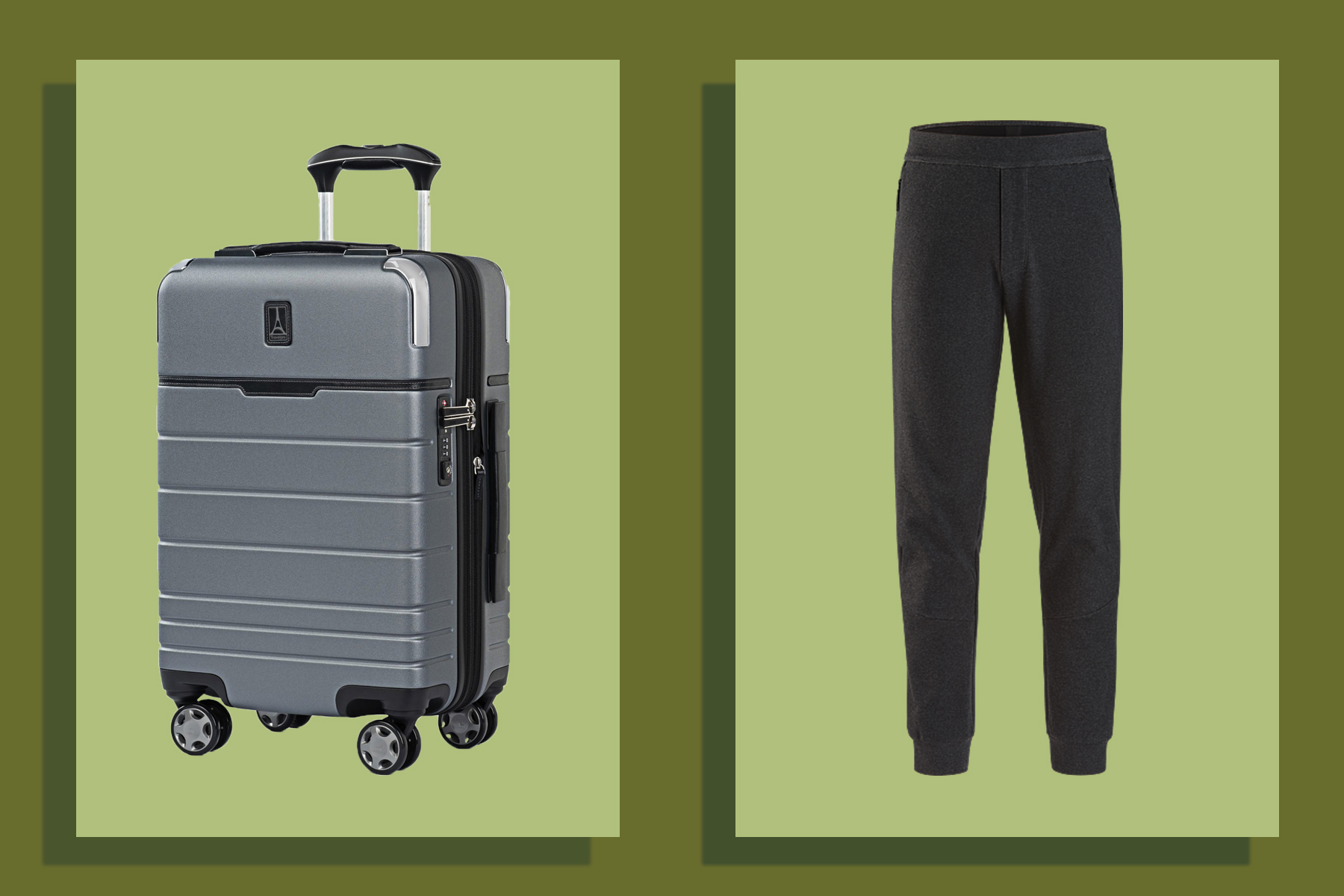 Suitcase and jogger sweatpants