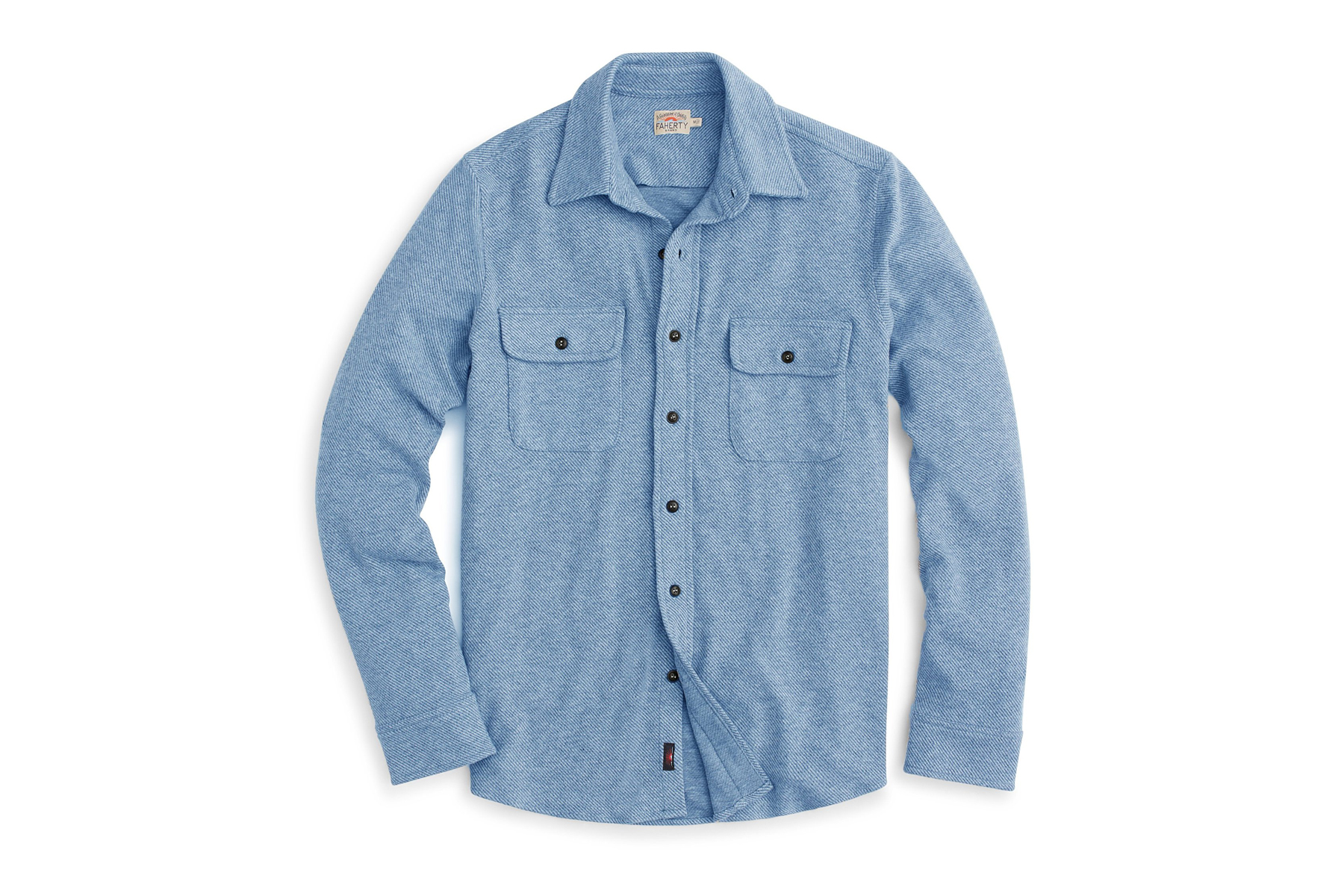 A blue sweater button down shirt