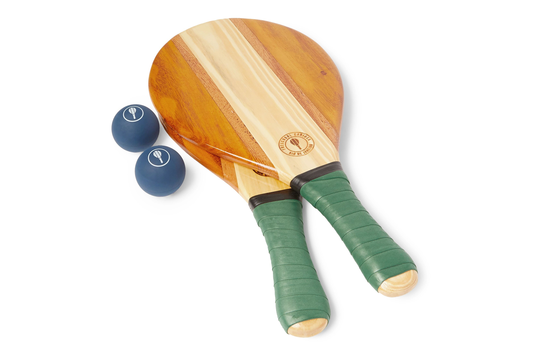 Wooden paddle with two small blue balls