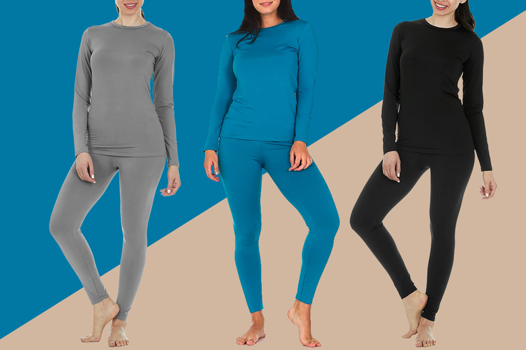 Women wearing black, grey, and blue thermal sets