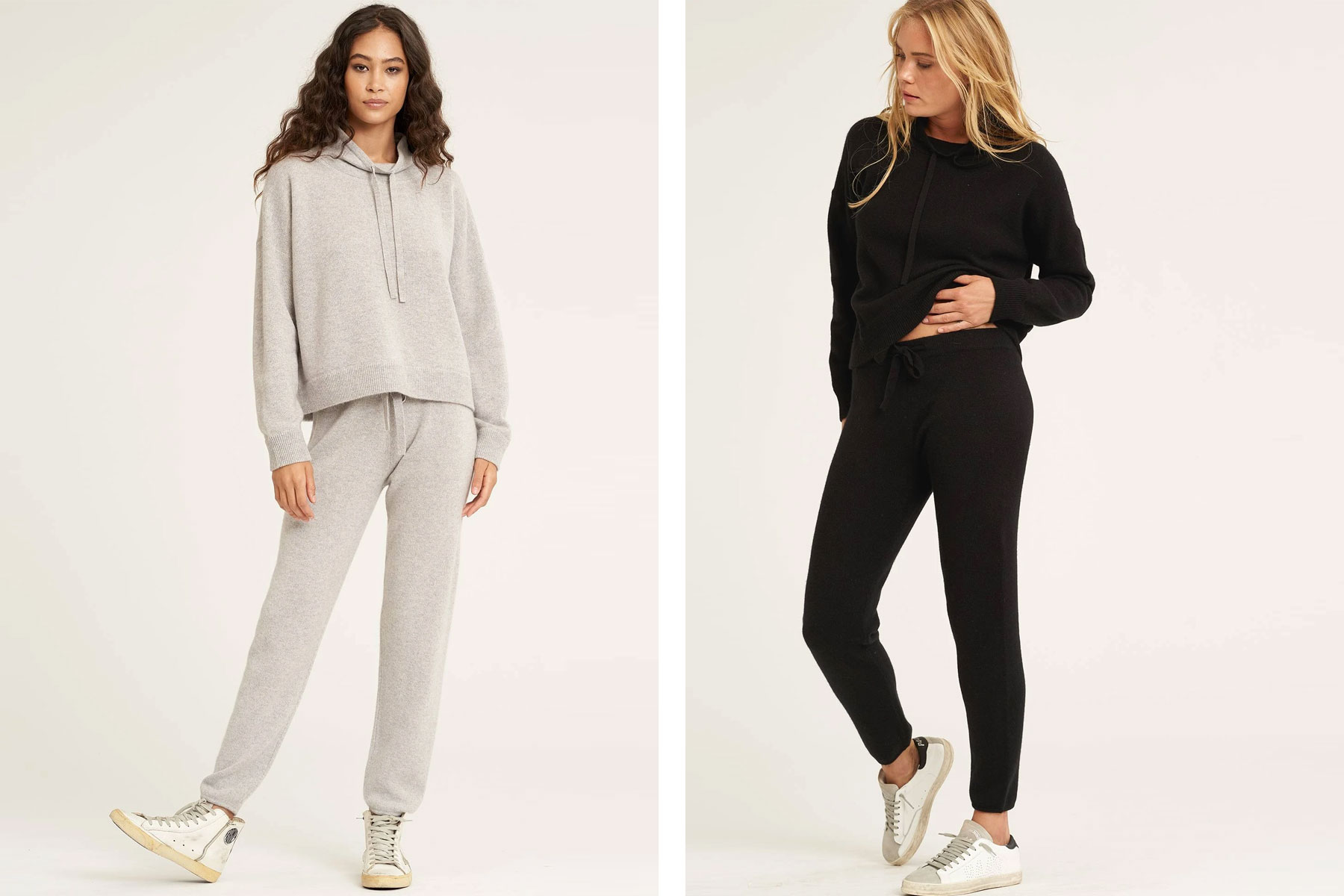 Women wearing grey and black cashmere sweatsuits