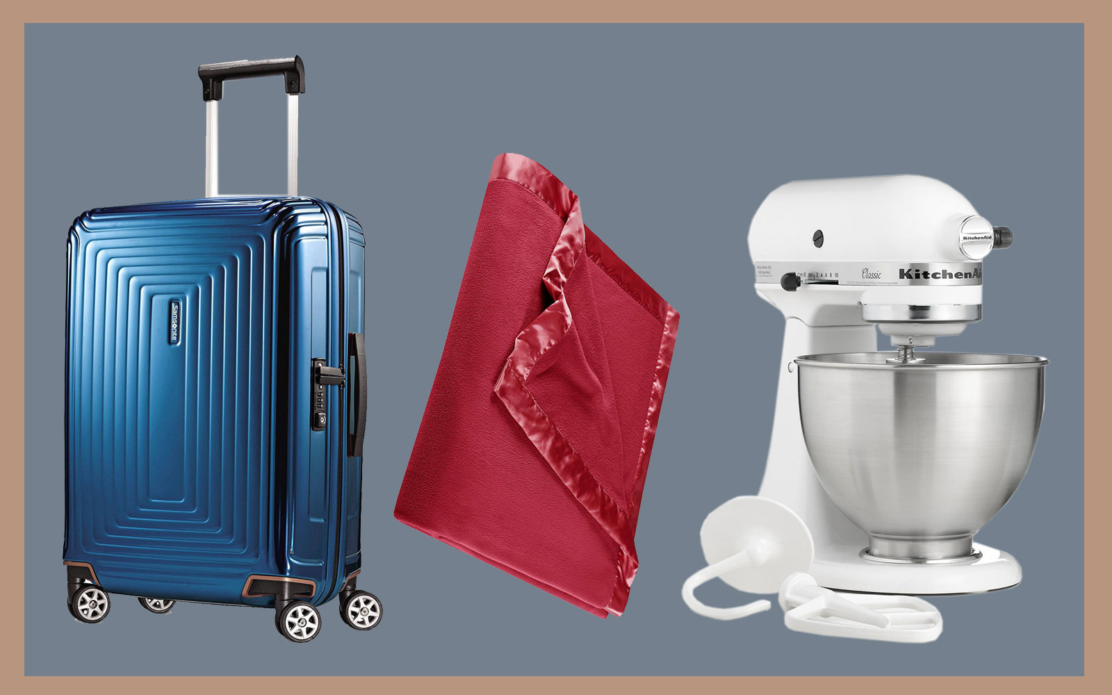 kitchenaid mixer, samsonite luggage, martha stewart blanket
