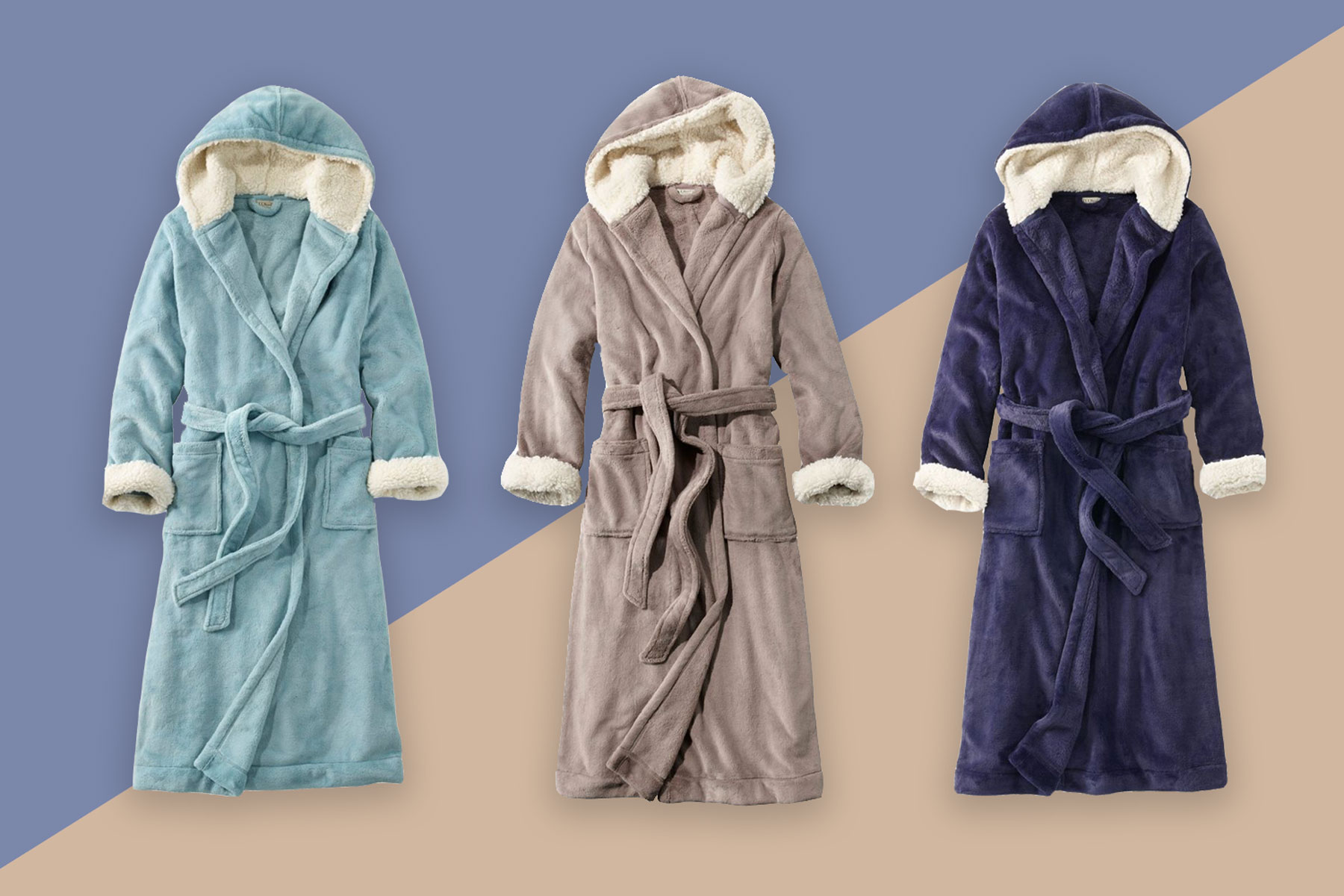 Light blue, grey, and navy bathrobes