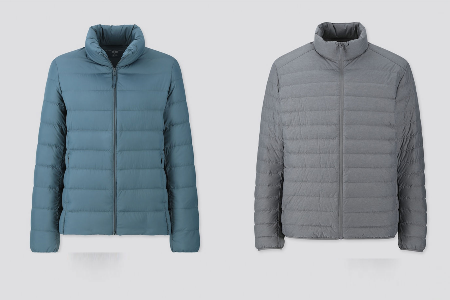 Blue and grey puffer jackets