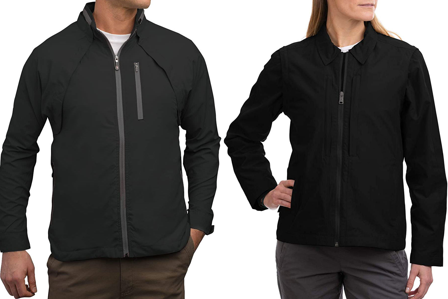 Man and woman wearing black zip up jackets