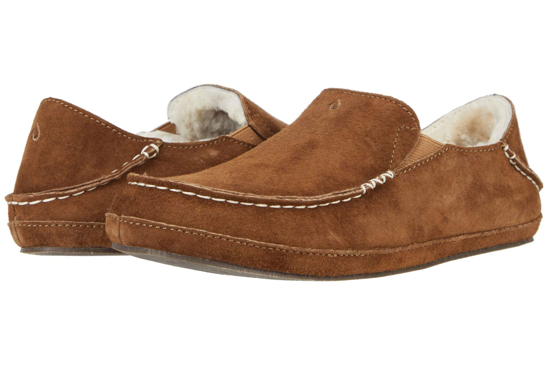 Brown suede shearling slippers