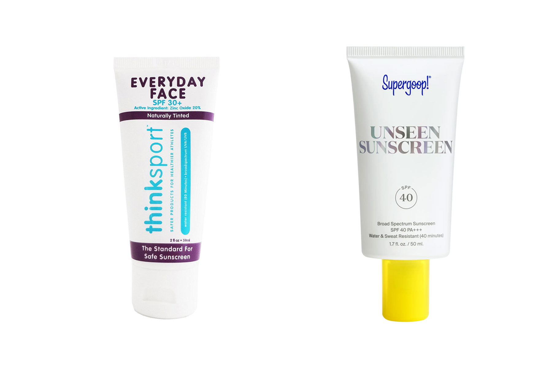 Tubes of sunscreen
