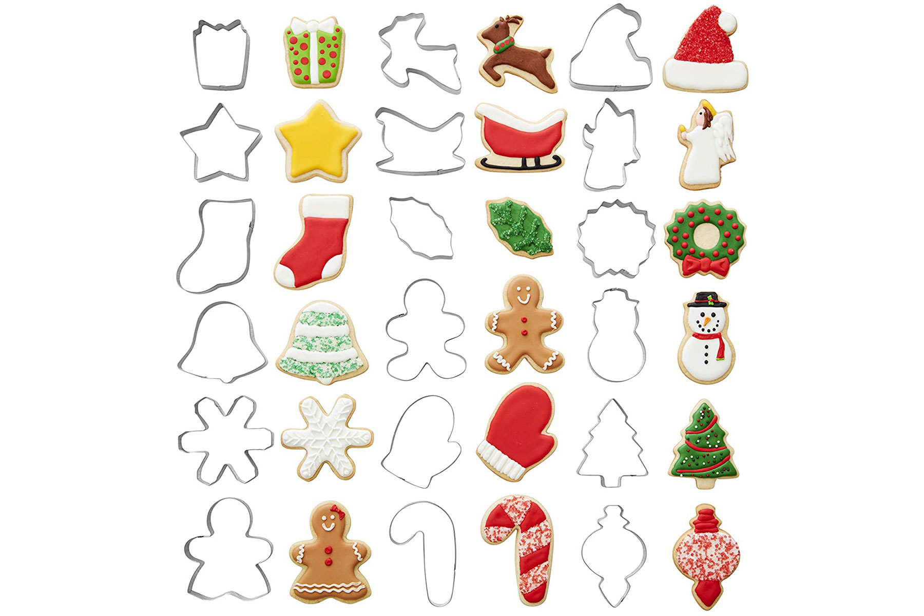 Various holiday-themed cookie cutters