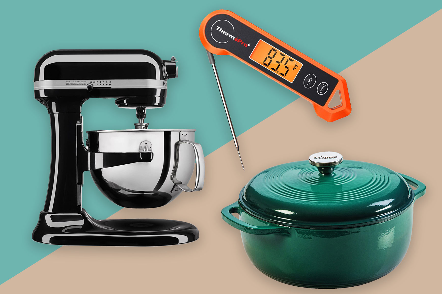 Kitchen items- standing mixer, dutch oven, and meat thermometer