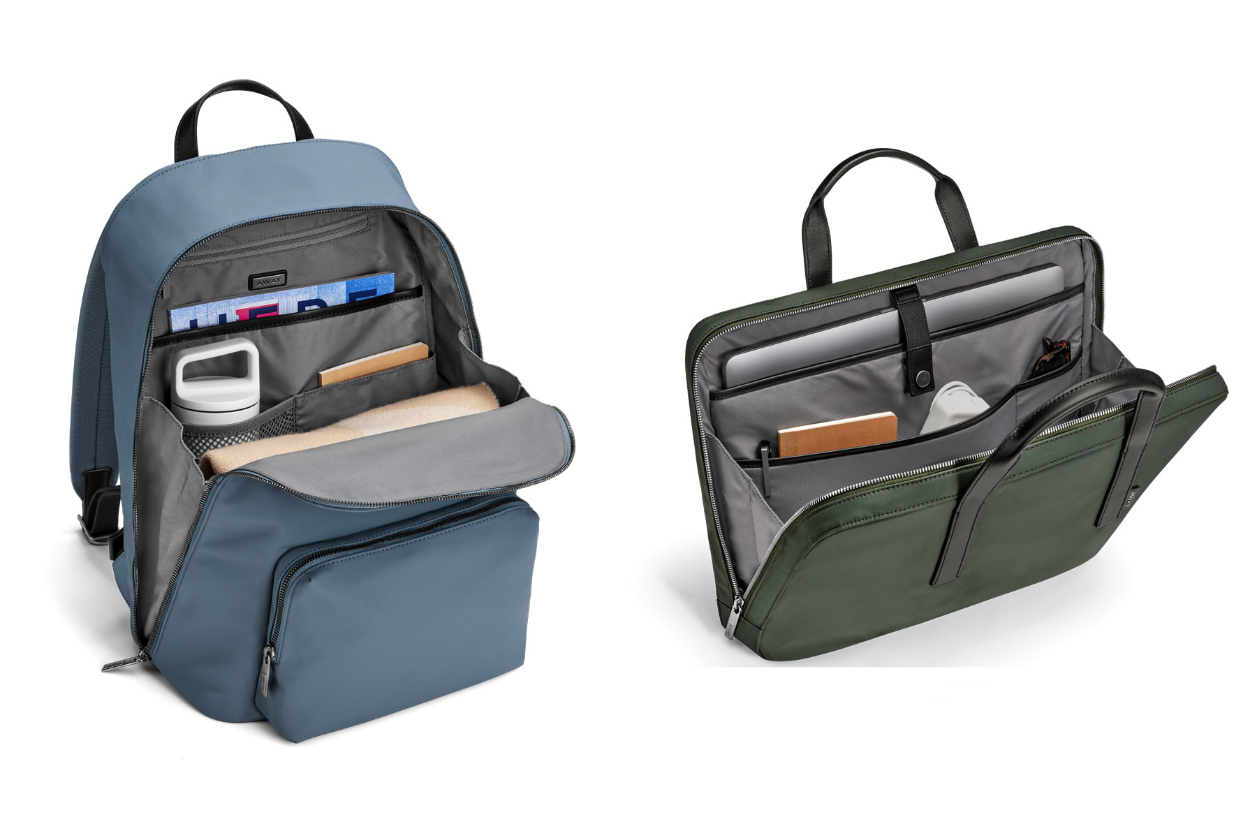 Blue nylon backpack and green nylon briefcase