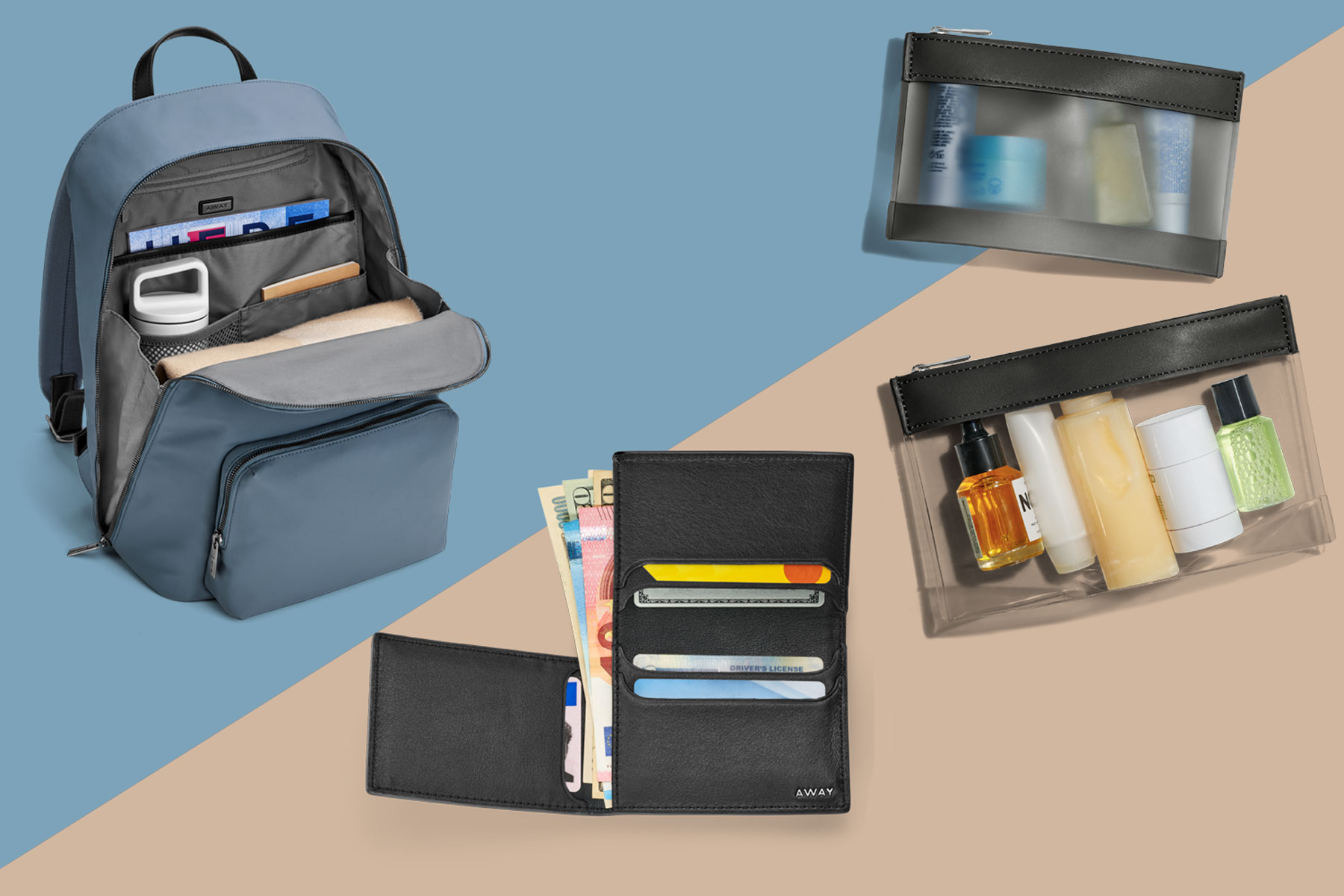 Various travel bags and accessories