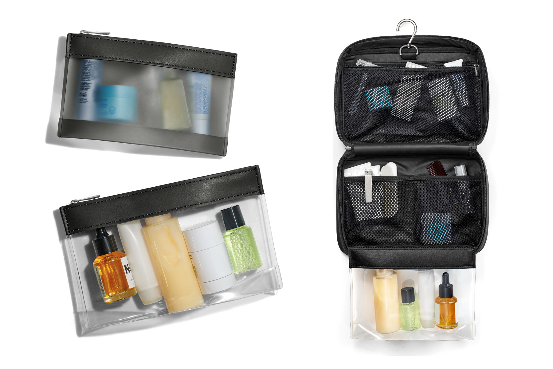 Black toiletry bag and clear travel pouch