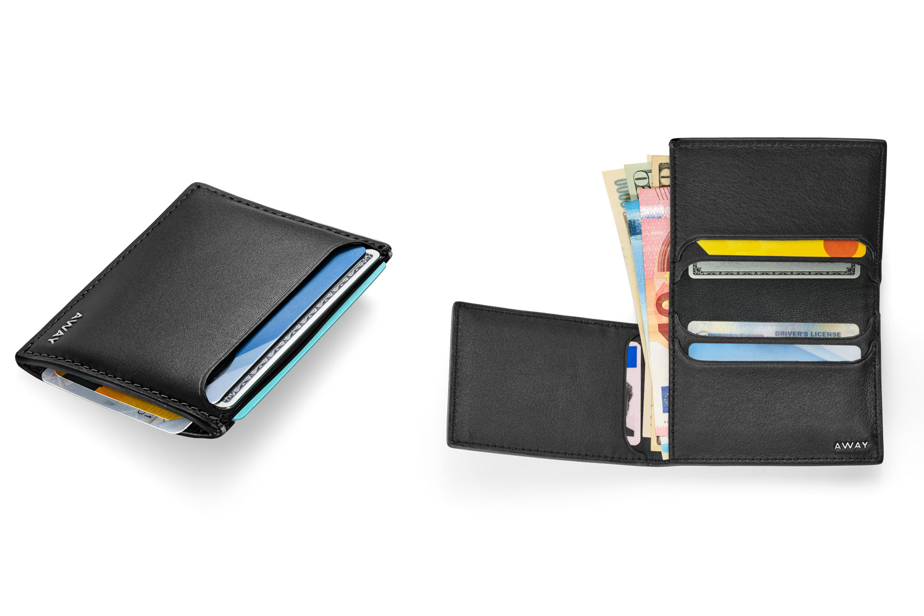 Black leather wallet and card case