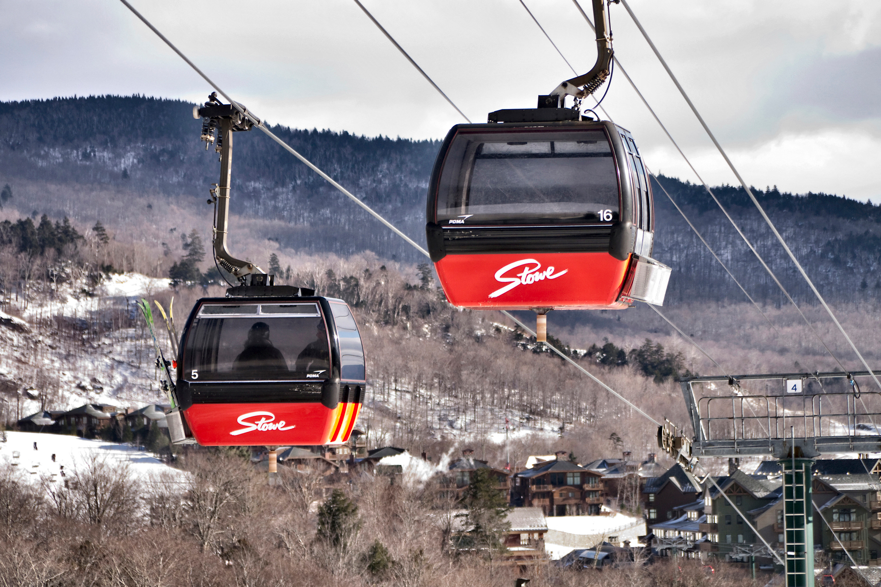 Cable cars at the Stowe Ski resort Vermont USA