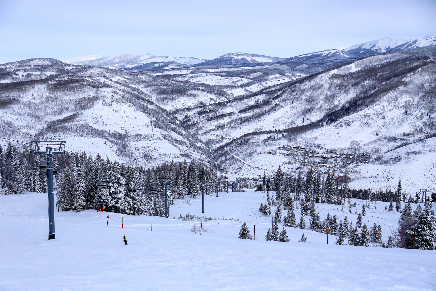 Skiers and chair lift at Vail Mountain Resort
