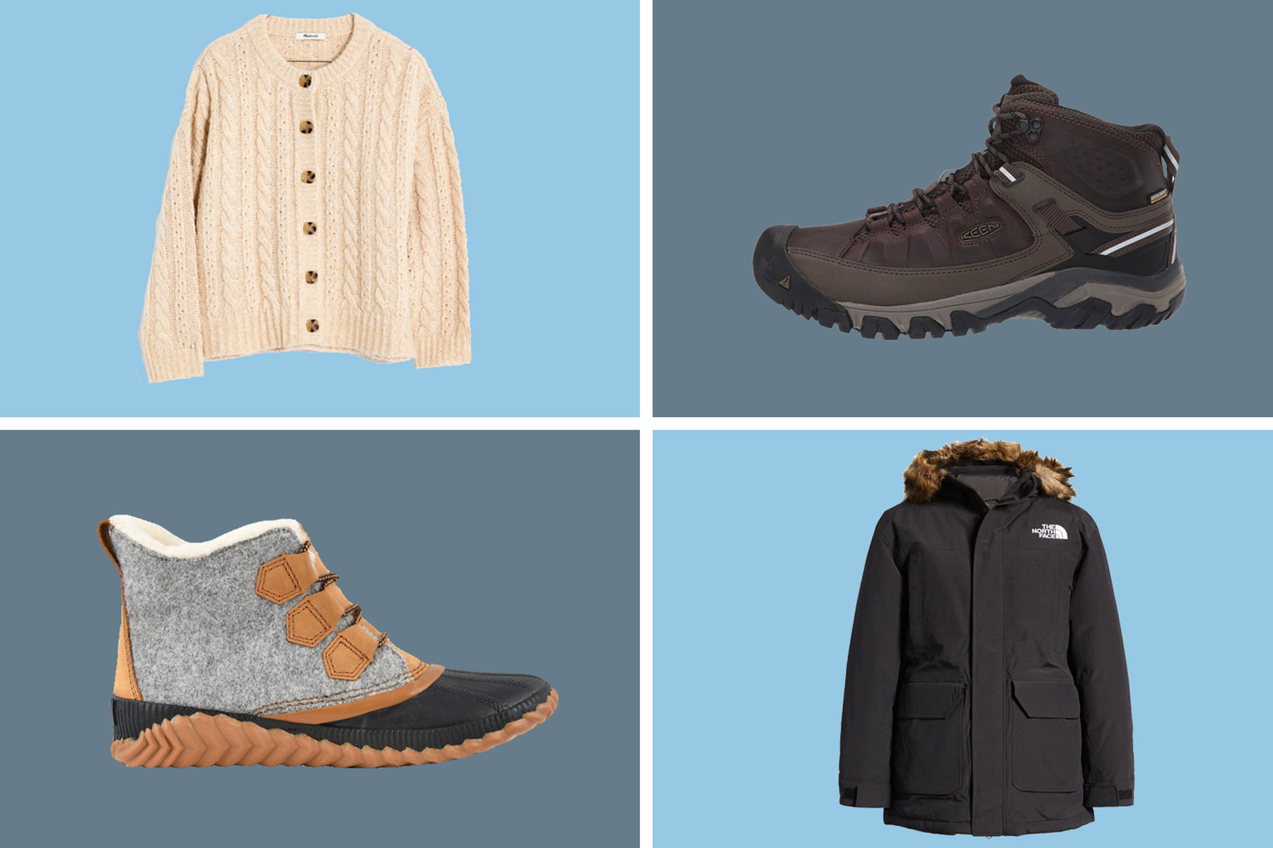 Various winter sweaters, jackets, and boots
