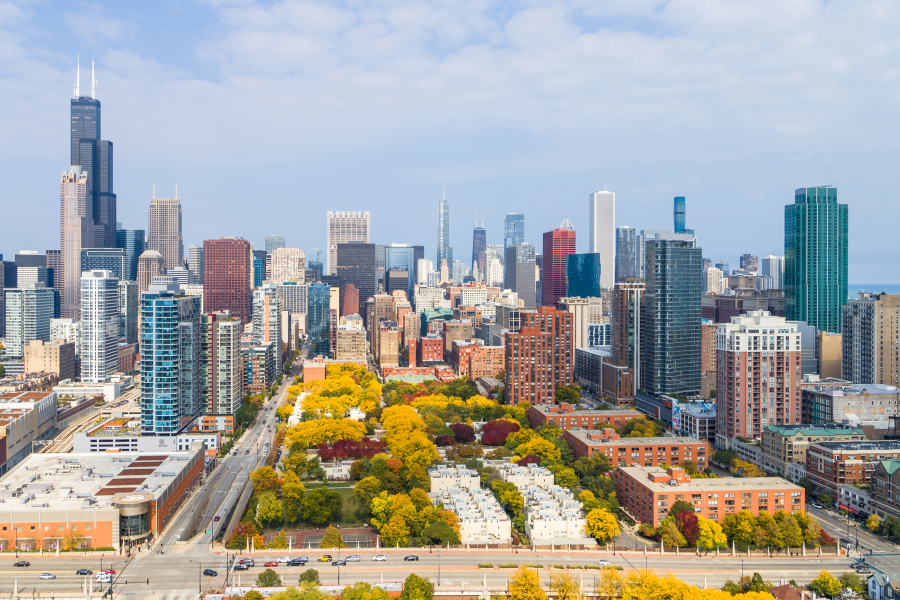 Aerial View of Chicago Cityscape and Fall Colors