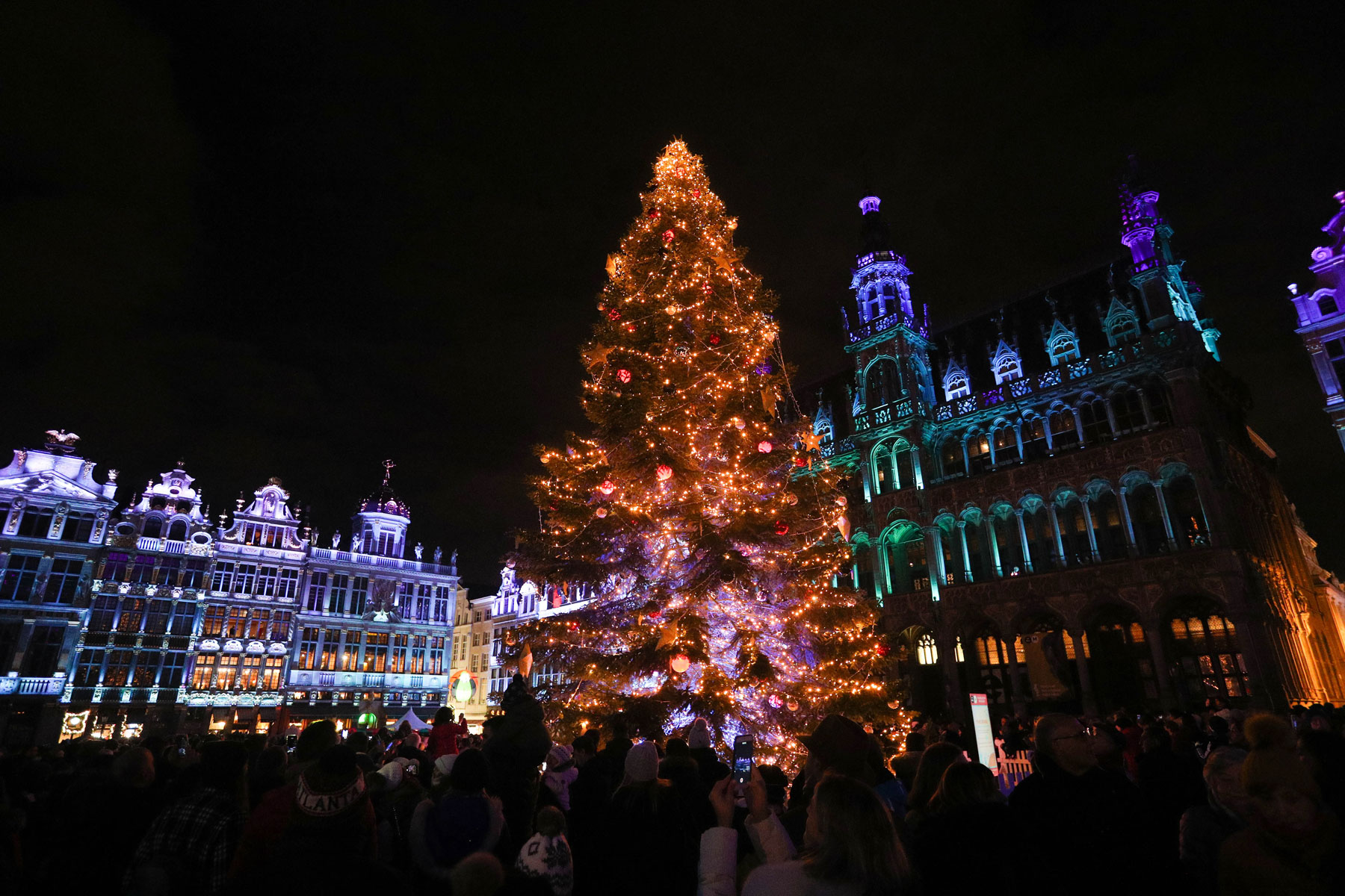 sound and light show at the Grand Place during the Winter Wonders in Brussels
