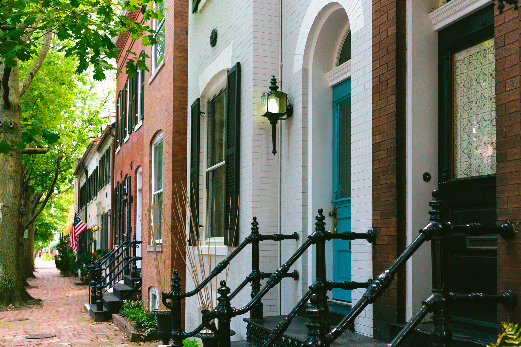 Row of Townhomes in Historic District of Alexandria, Virginia
