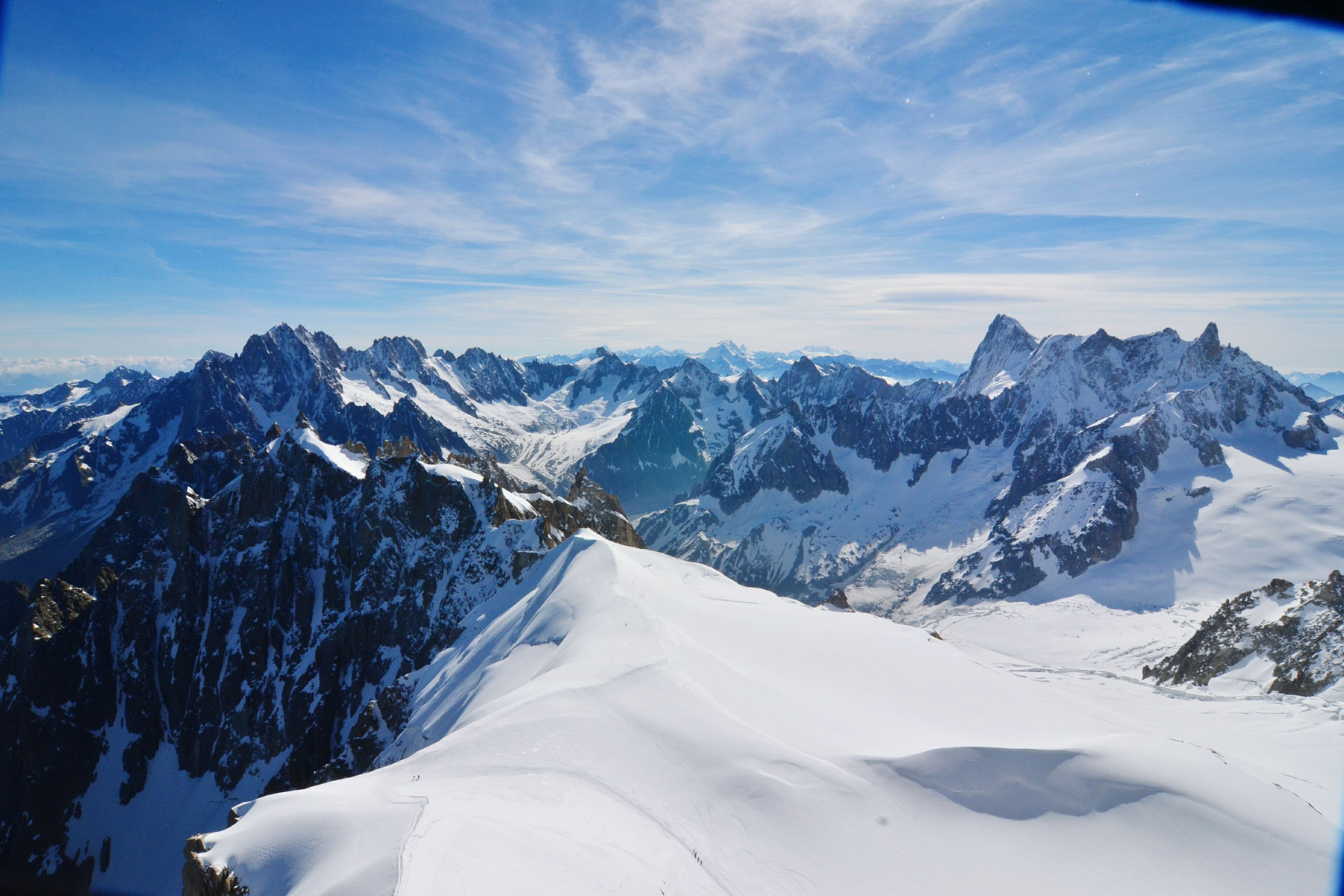 scenic view of Swiss Alps covered with snow