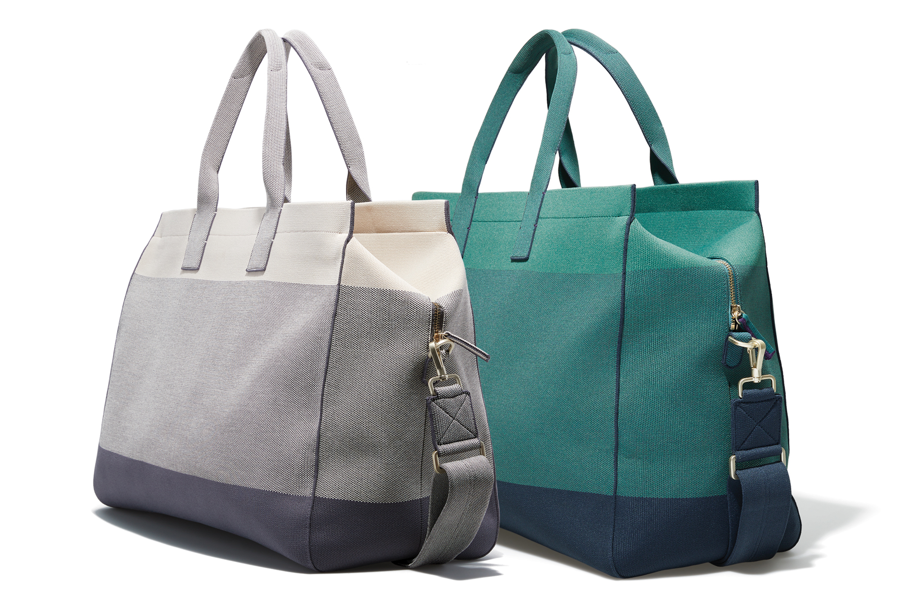 Rothy's weekender tote in Stone and Deep Spruce