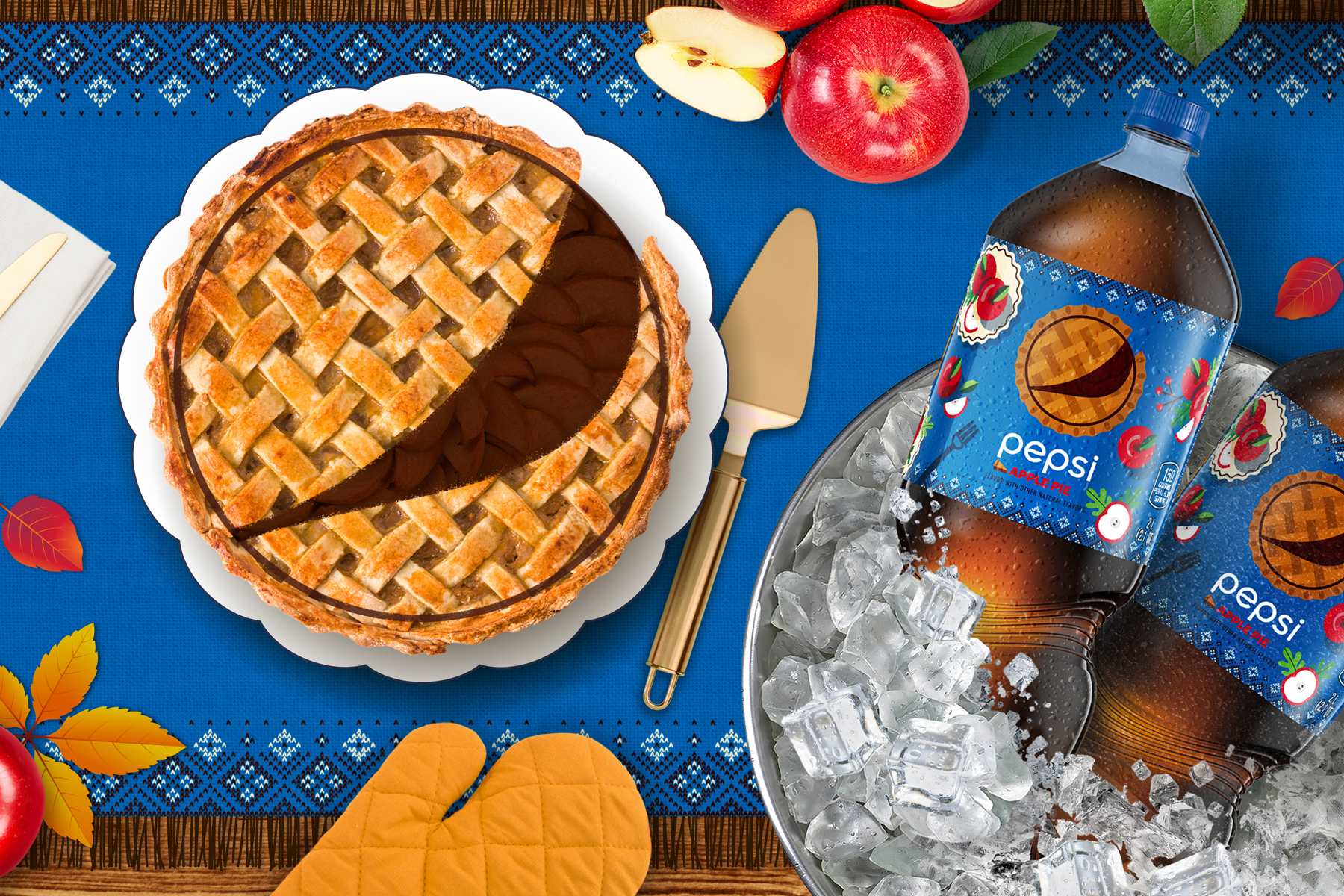 Holiday table spread with pie and Pepsi