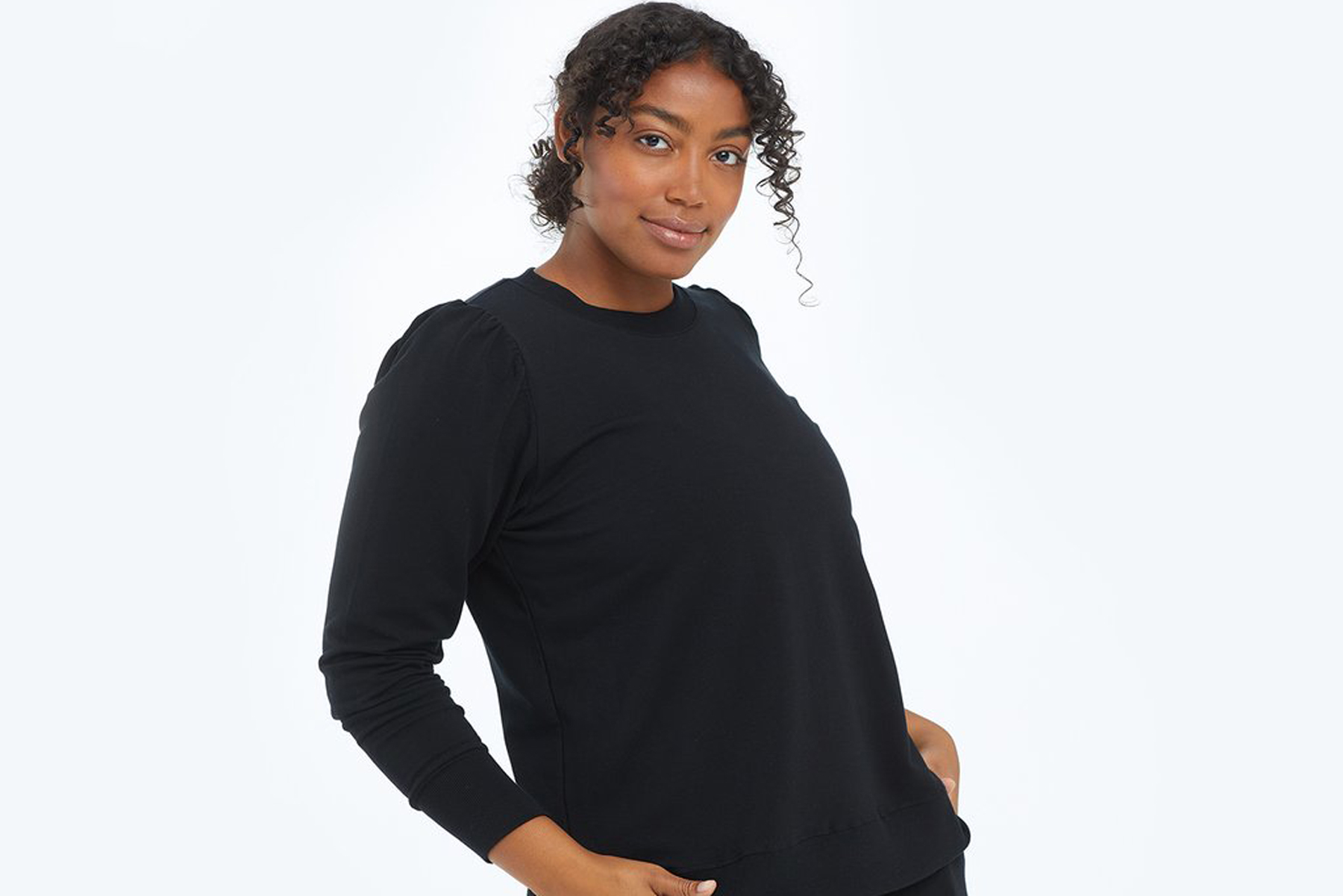 Puff sleeve French Terry sweater