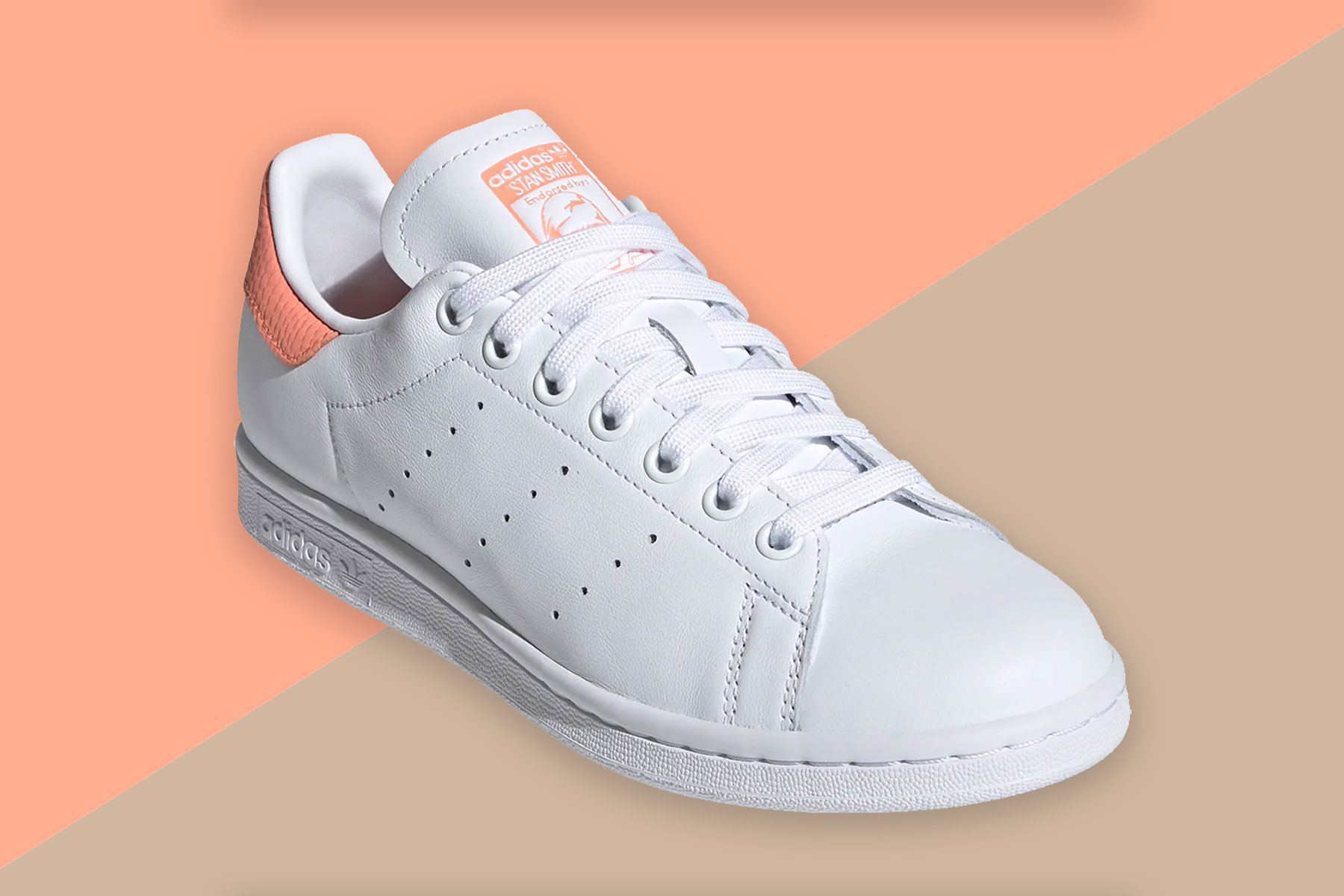 White and coral leather sneakers