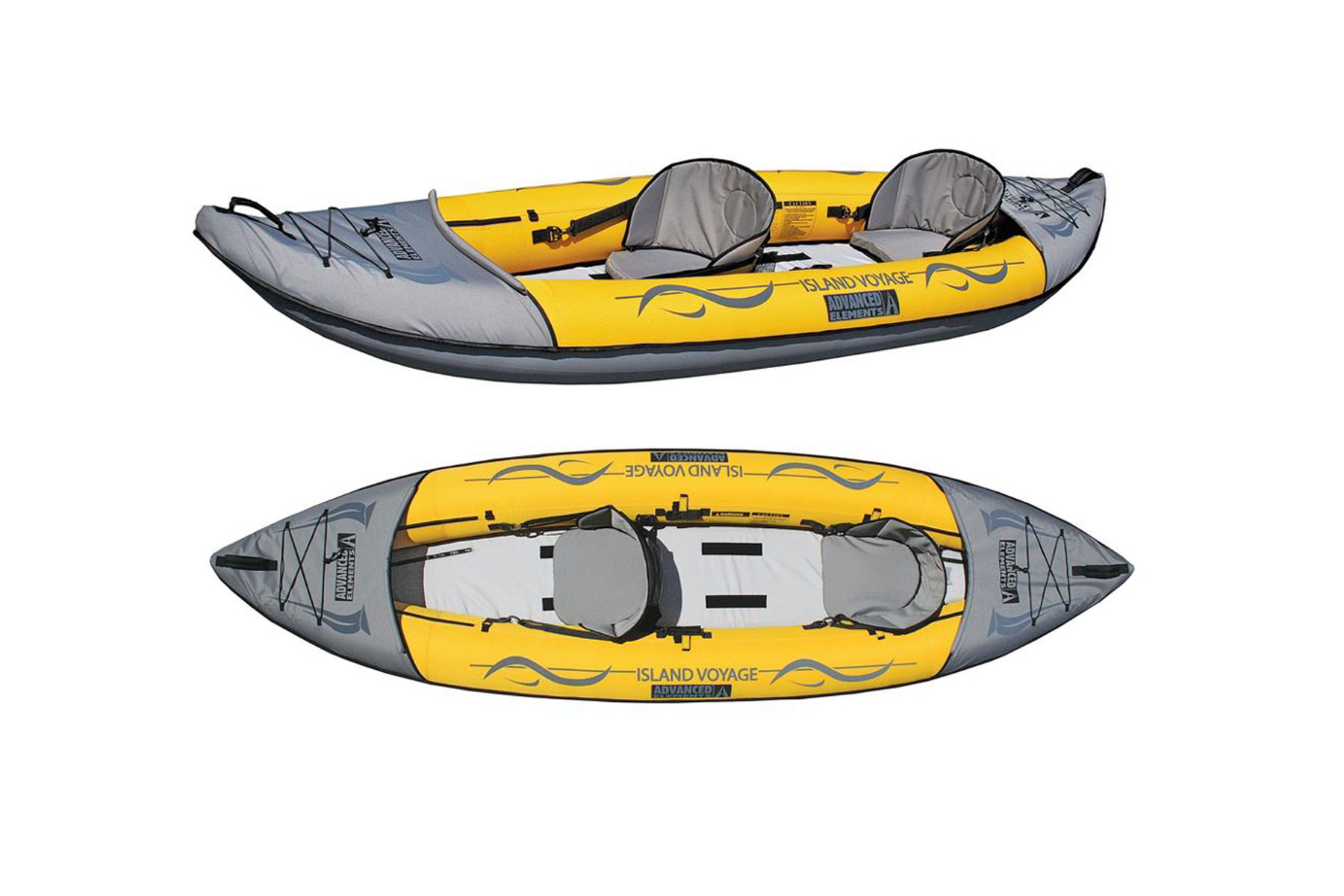 Yellow and grey kayak