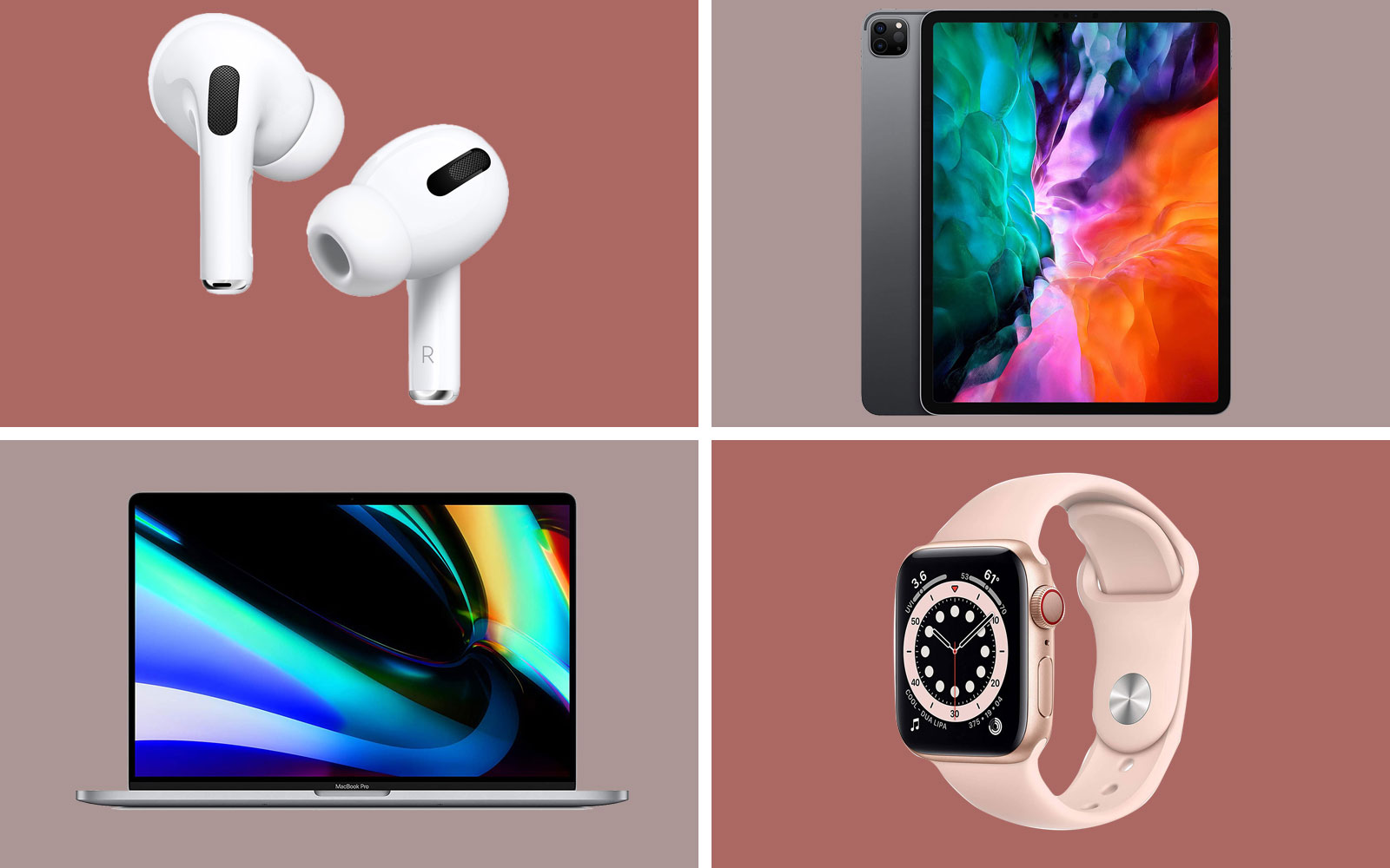 apple airpods, macbook pro, ipad, watch